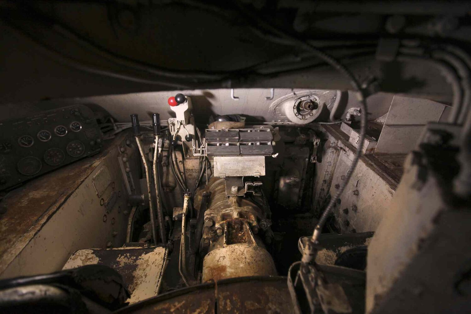 Inside the Sherman tank.