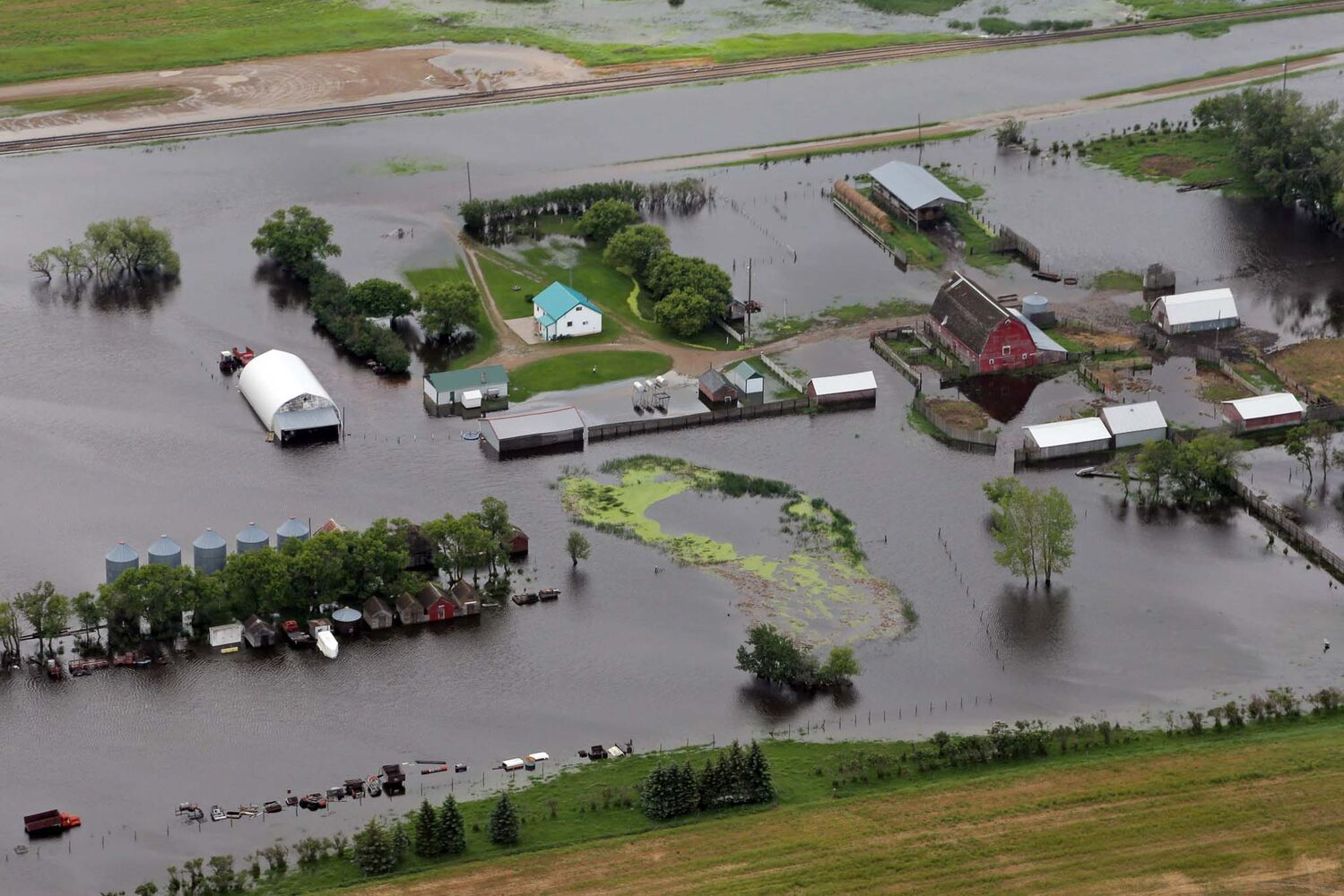 A flooded farm in western Manitoba is seen from the air Monday. (Colin Corneau / Brandon Sun)