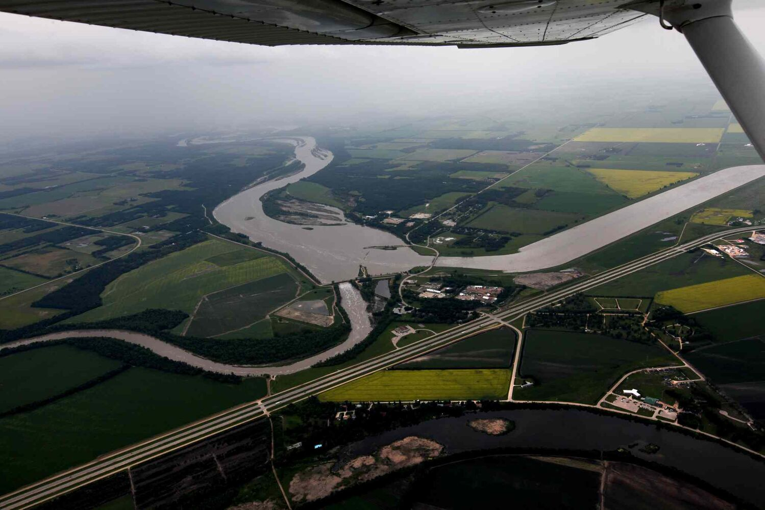 Aerial photo of Portage diversion dam just west of town where water is diverted north to Lake Manitoba.