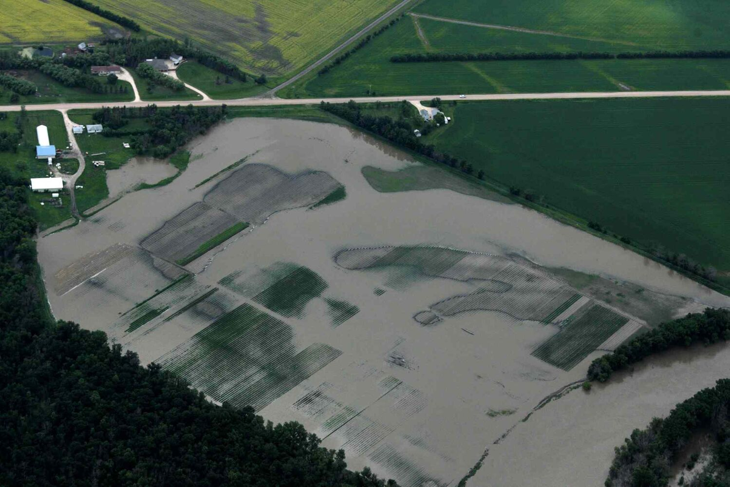 Aerial photo showing a flooded field east of  Portage la Prairie area.