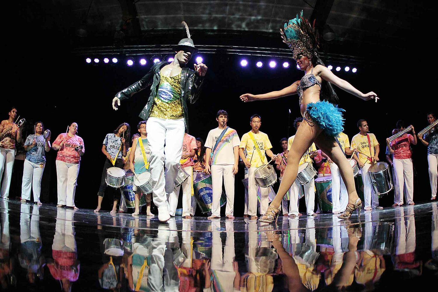 Dancers take the stage at the Brazilian pavilion. (John Woods / Winnipeg Free Press)