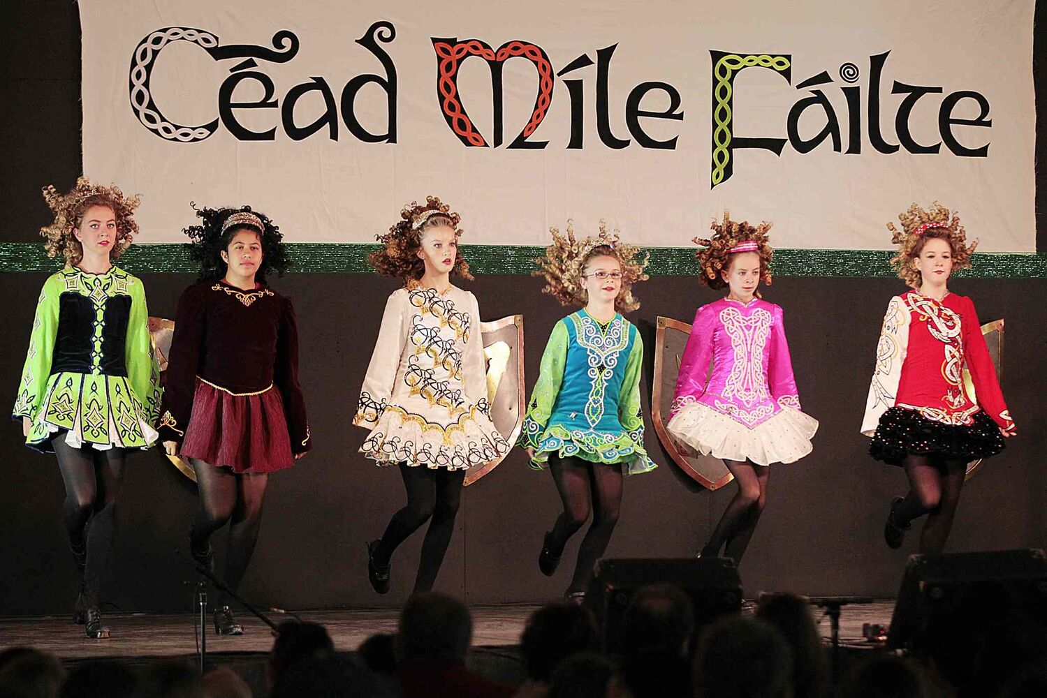 Girls do traditional dance at the Ireland-Irish pavilion.  (John Woods / Winnipeg Free Press)