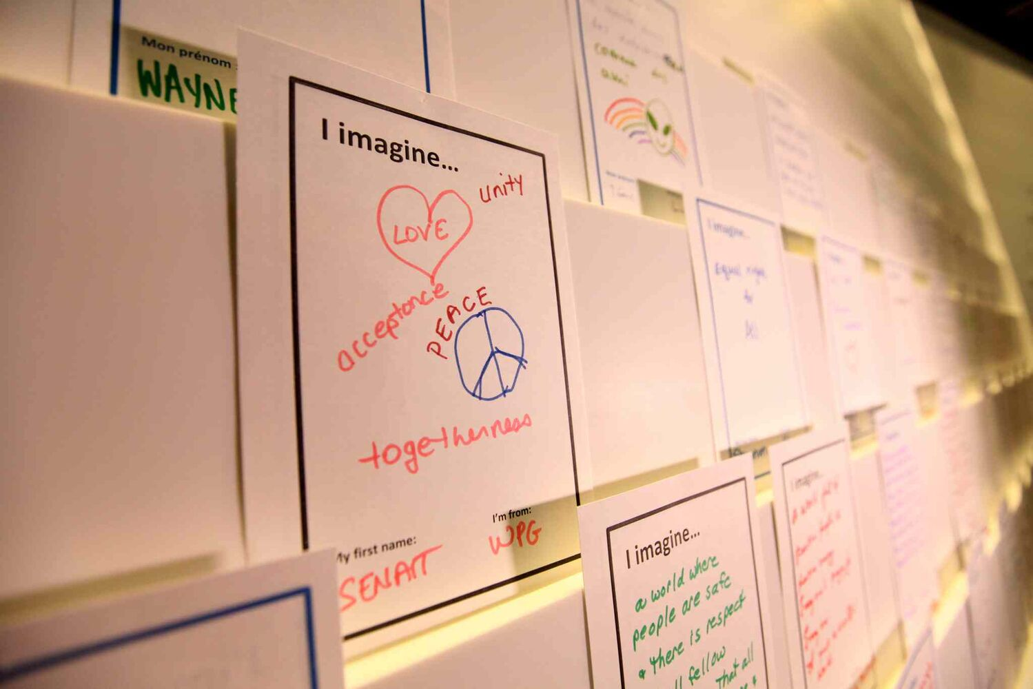 Installation #10 - Inspiring Change. Museum goers will be asked to leave their comments of hope on 'I Imagine' cards and place them along a wall in the final installation.   (Ruth Bonneville / Winnipeg Free Press)