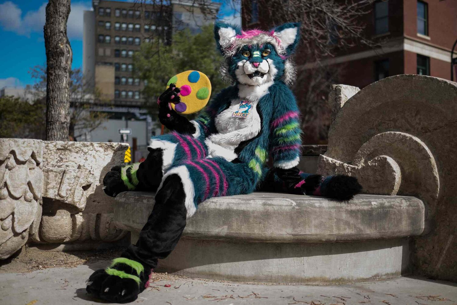 Cathy dressed in her furry suit as NovaCat.  (MIKE DEAL / WINNIPEG FREE PRESS)