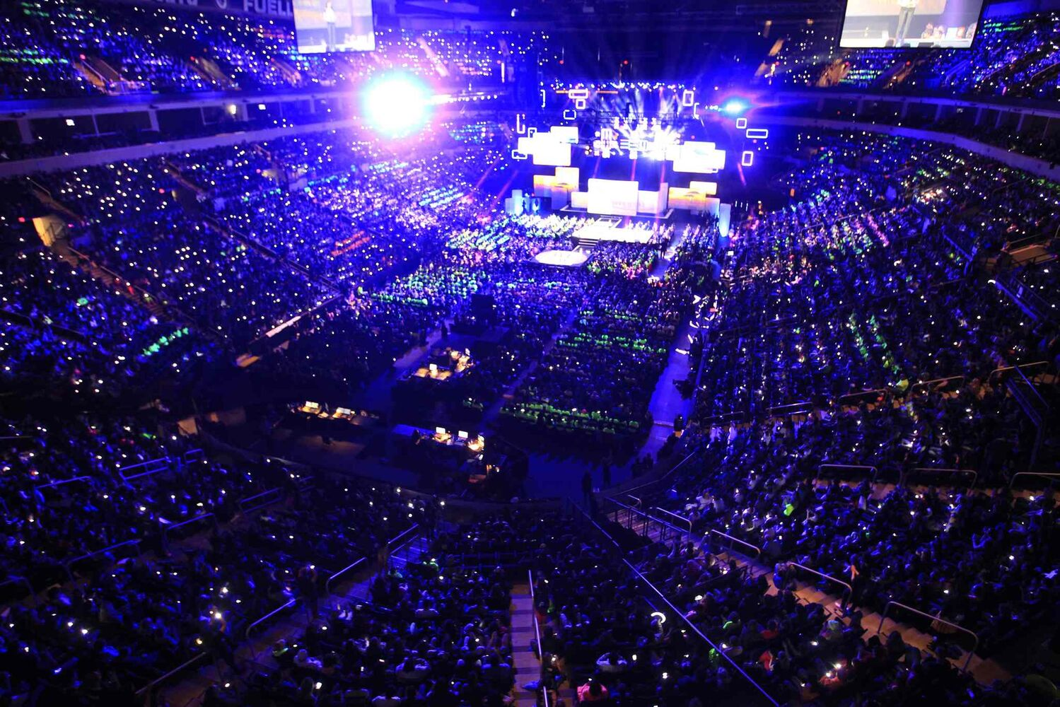 Enthusiastic students attending packed the MTS Centre for the third We Day. (Wayne Glowacki / Winnipeg Free Press)
