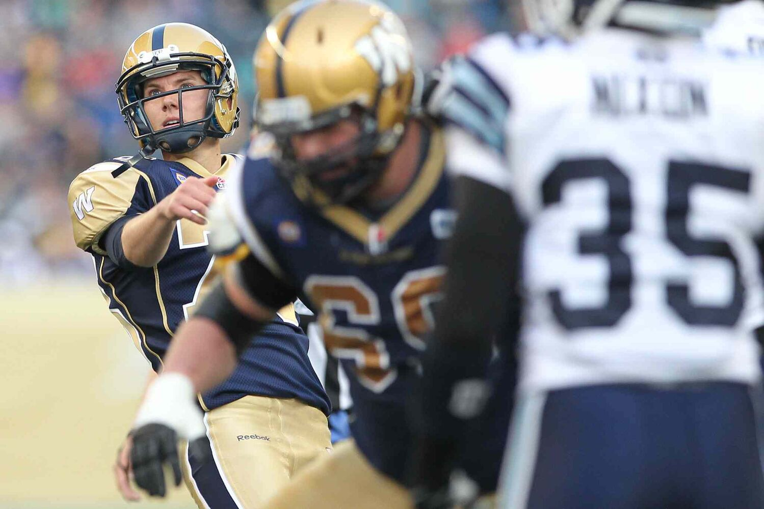 Bombers kicker Brett Maher boots a 47-yard field goal during the first half. (JOHN WOODS / WINNIPEG FREE PRESS)