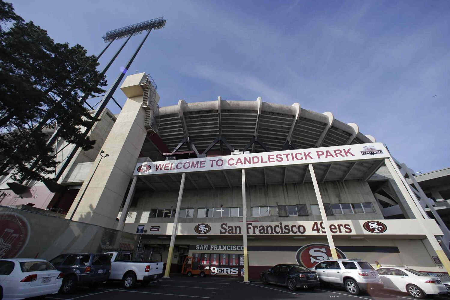The players' entrance at Candlestick Park in San Francisco is seen from outside the building. (Eric Risberg / The Associated Press)