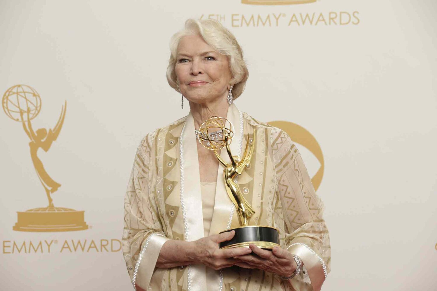 Ellen Burstyn backstage the 65th Annual Primetime Emmy Awards on Sunday. Burstyn was honored at the Emmys for her work on Political Animals. Burstyn took home the award for Best Supporting Actress in a Miniseries/Movie. This is Burstyn's second Emmy. She previously won for