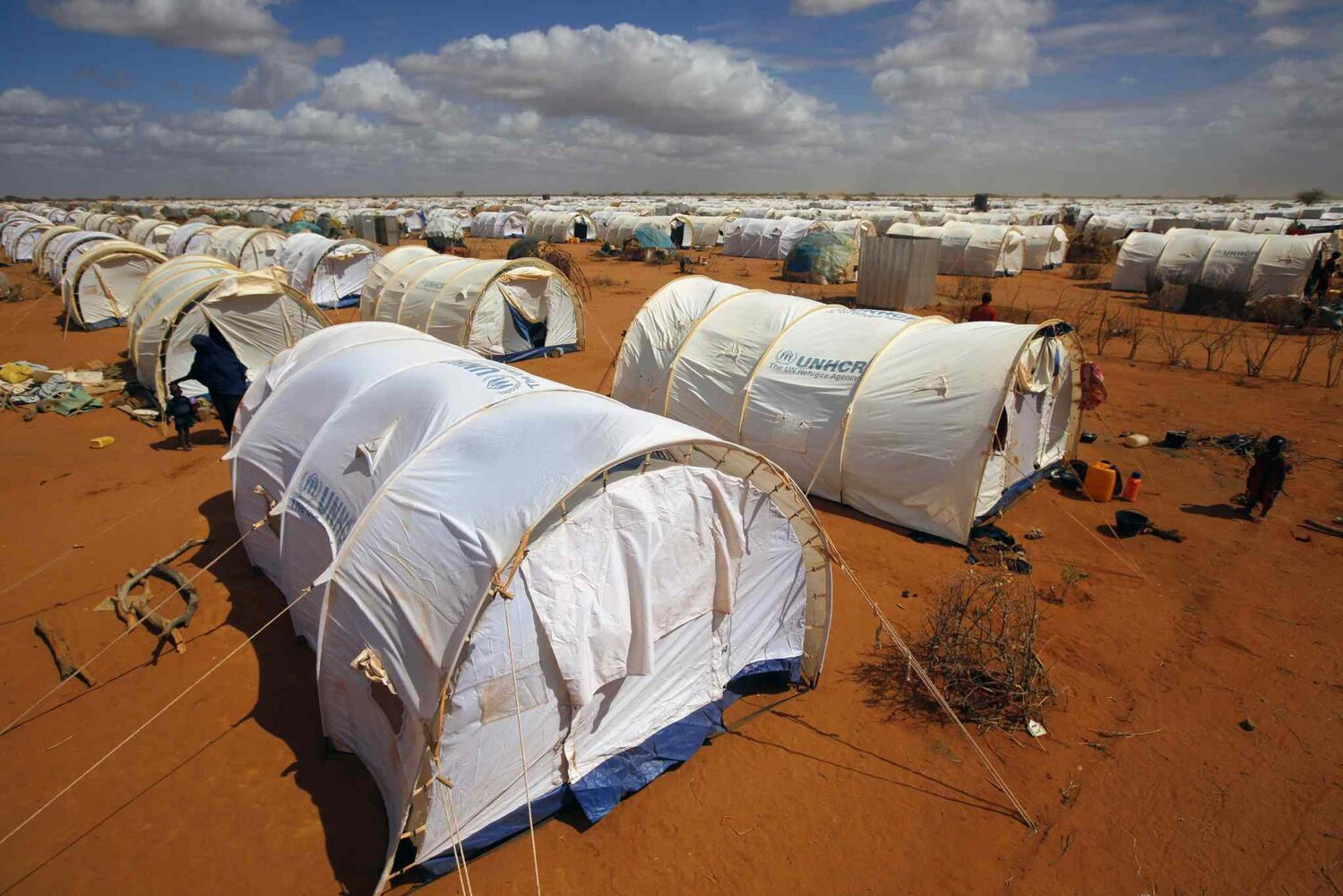 In this August 2011 photo, tents are seen at the UNHCR's LFO Extension camp outside Dadaab, eastern Kenya, 100 kilometers from the Somali border. The Dadaab refugee camp — the largest in the world — was built for 90,000 people. The current population is over 400,000 with thousands of new arrivals crammed into areas outside the refugee camp, waiting to be formally admitted. (Jerome Delay / The Associated Press)