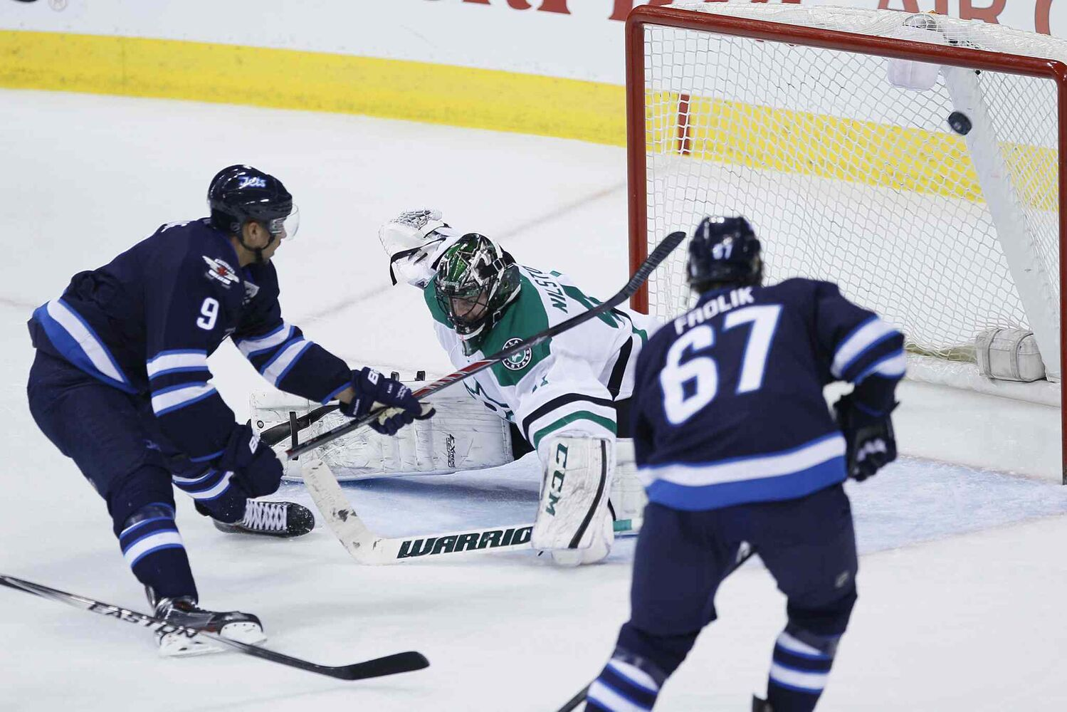 Jets forward Evander Kane snaps a slump as he scores on Stars goaltender Cristopher Nilstorp as Michael Frolik looks on during the third period.