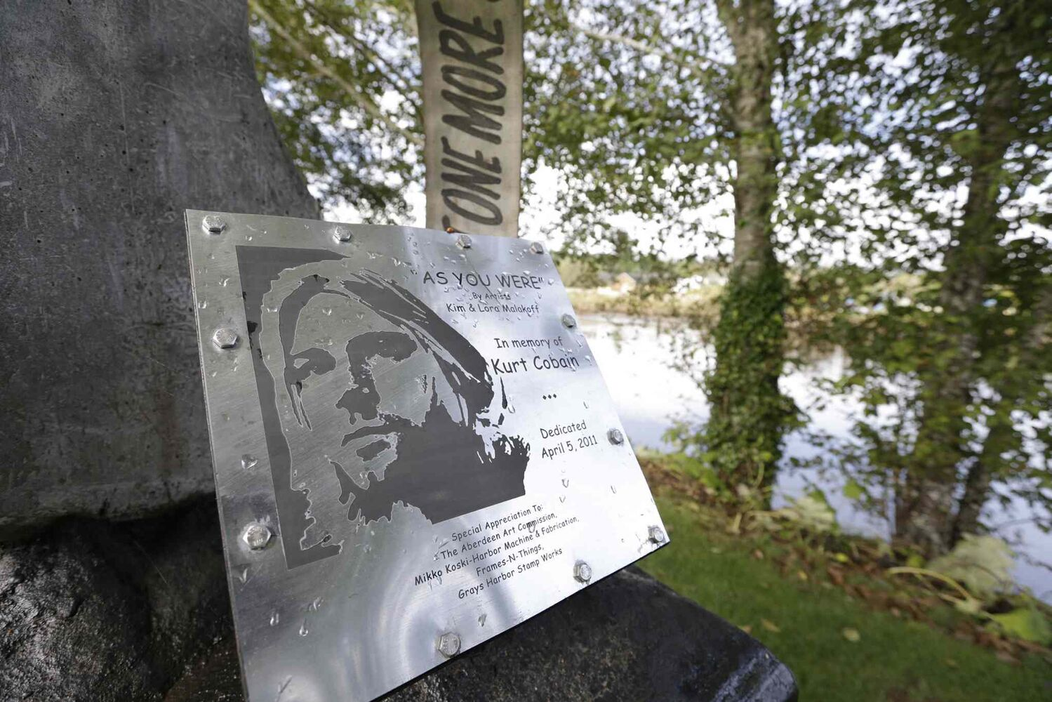 A sign at Kurt Cobain Landing  (Elaine Thompson / The Associated Press)