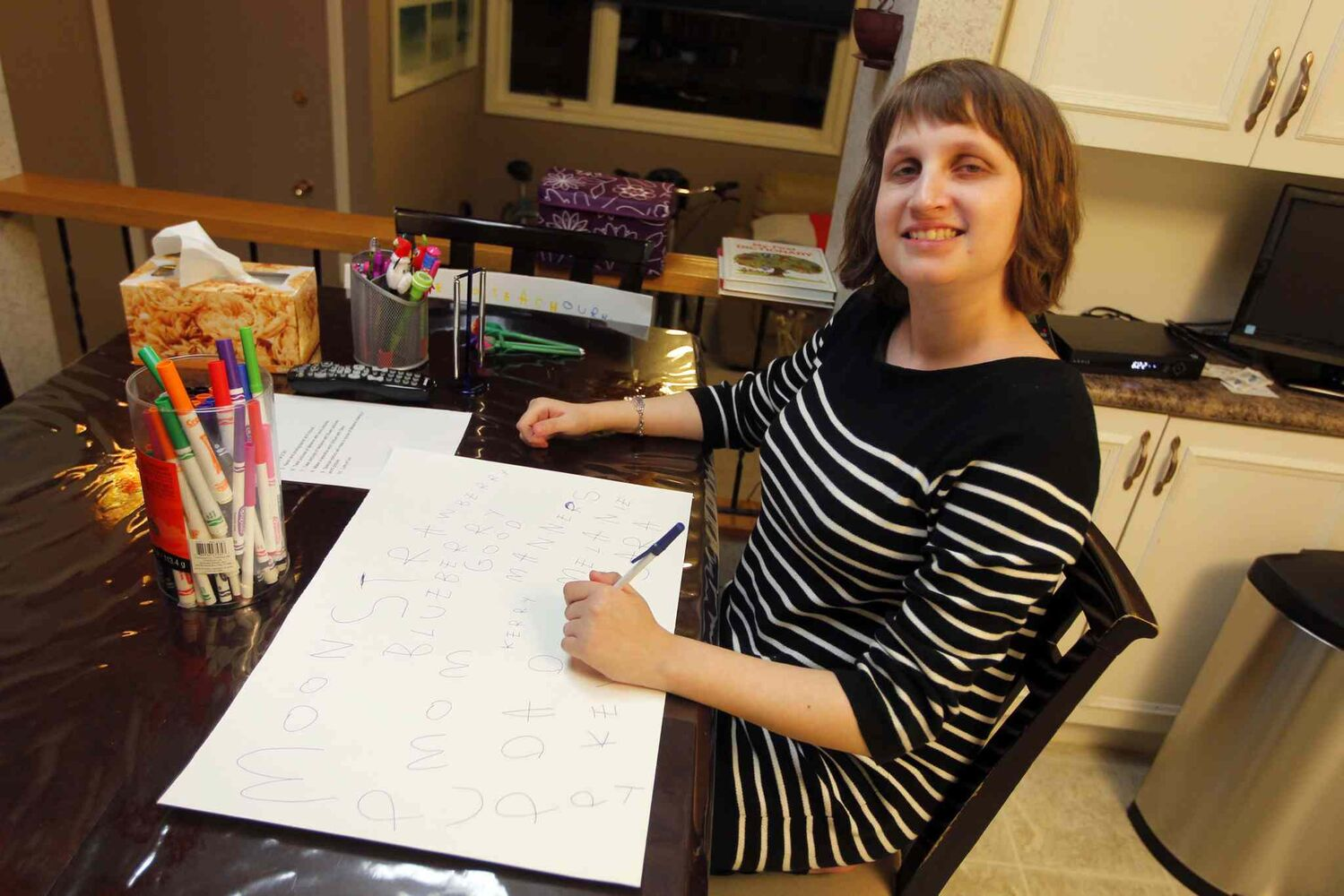 Melanie Halprin, 21, is autistic and is non-verbal. An artist in the Netherlands saw a card she designed and as a result, two pieces of her art were displayed in art show in Amsterdam where thousands of people saw it.