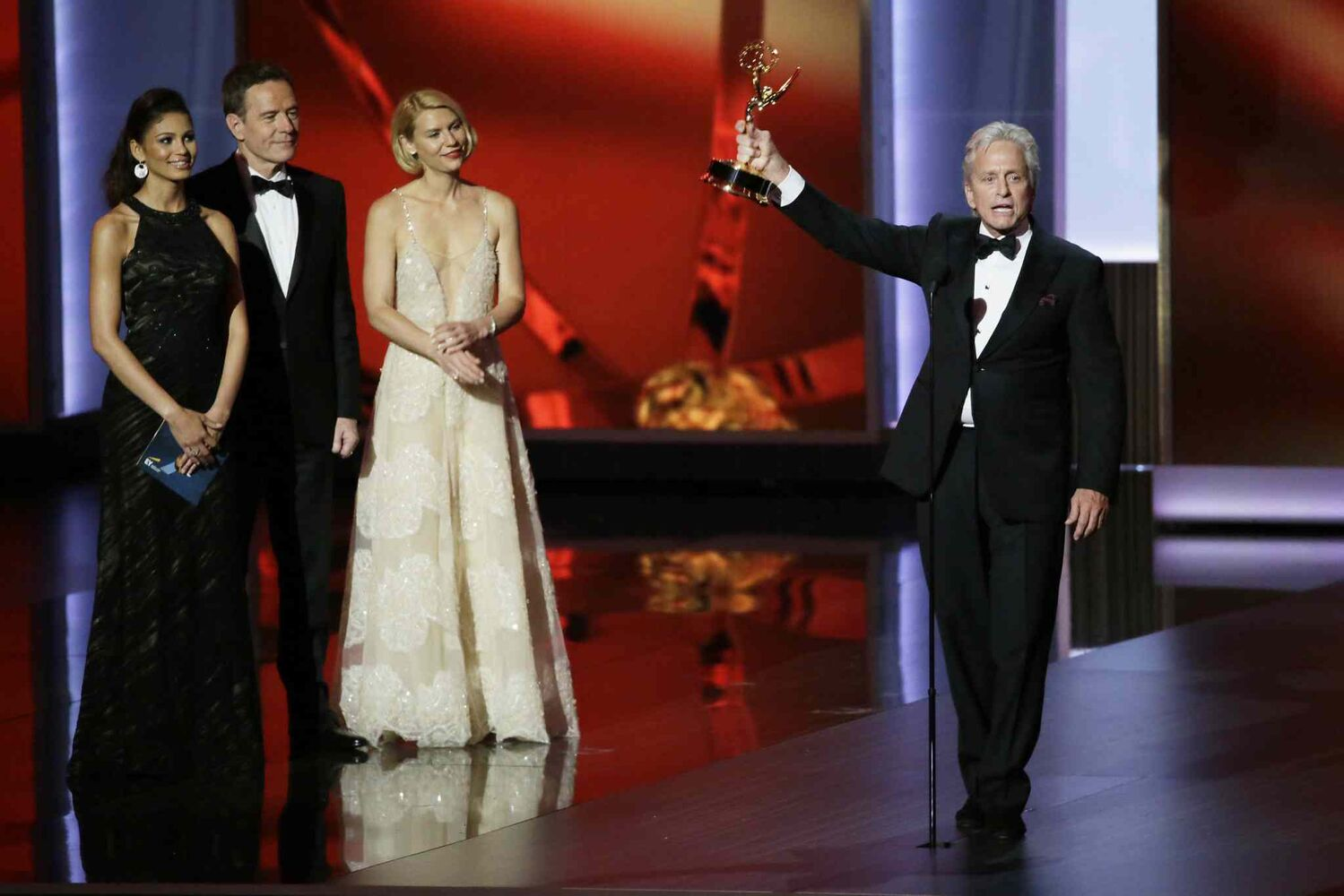 Michael Douglas accepts his Emmy for Outstanding Lead Actor in a Miniseries or Movie at the 65th Annual Primetime Emmy Awards on Sunday. (Tribune Media MCT)