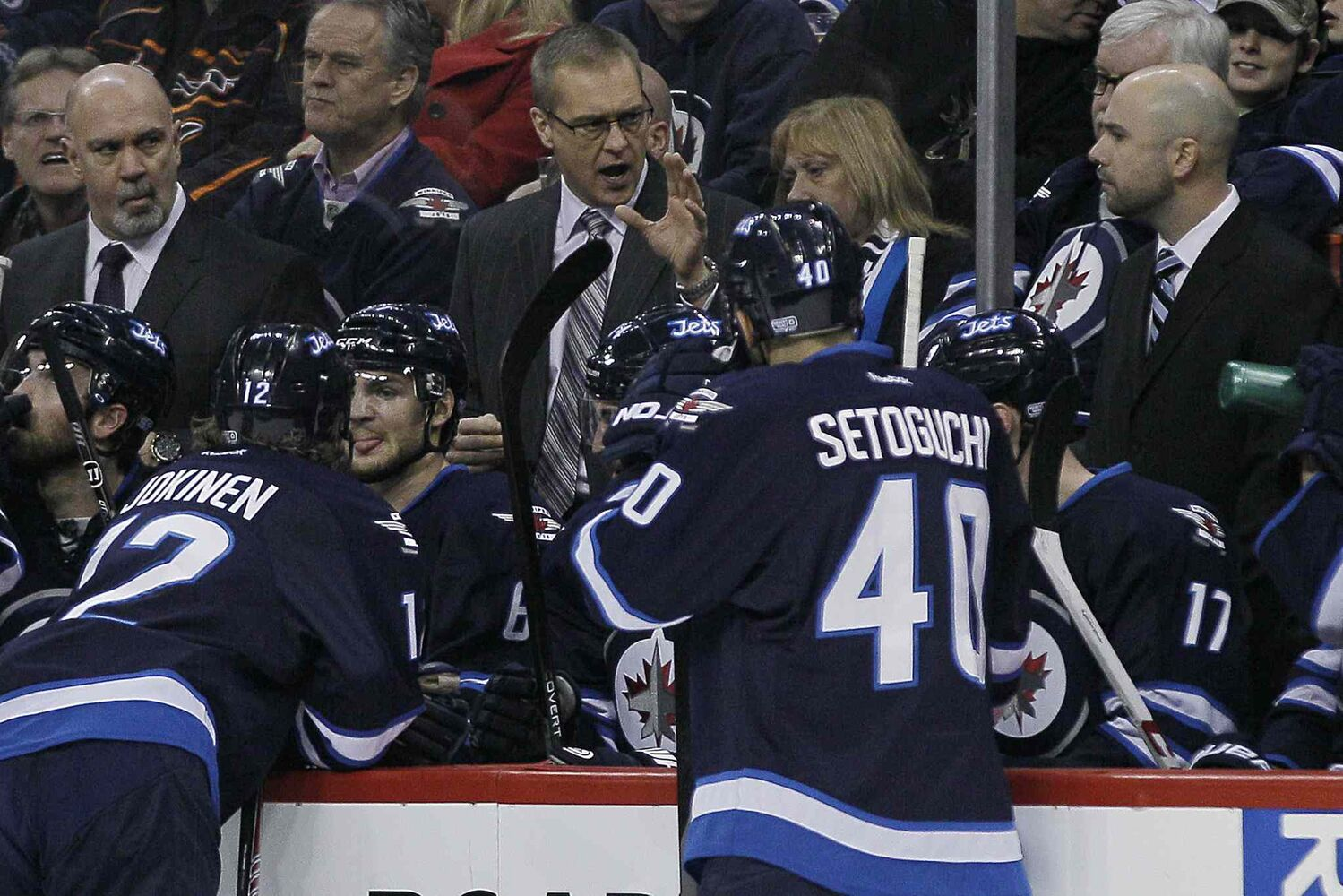 Winnipeg Jets' head coach Paul Maurice talks to his players during the second period of Tuesday's game in Winnipeg.