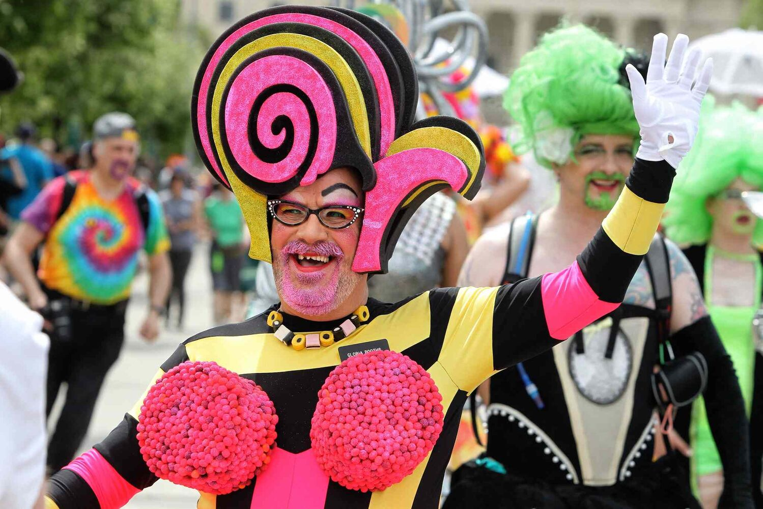 Participants in the 2014 Pride Parade take to downtown streets. (Mike Deal / Winnipeg Free Press)