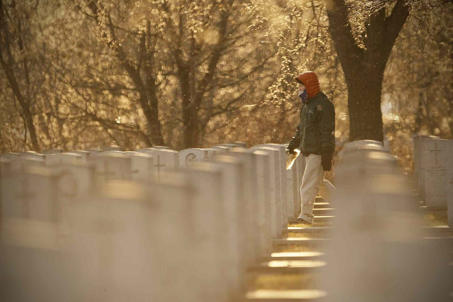 A man walks among the gravestones in Brookside Cemetery in Winnipeg on Remembrance Day. (JOHN WOODS / WINNIPEG FREE PRESS)