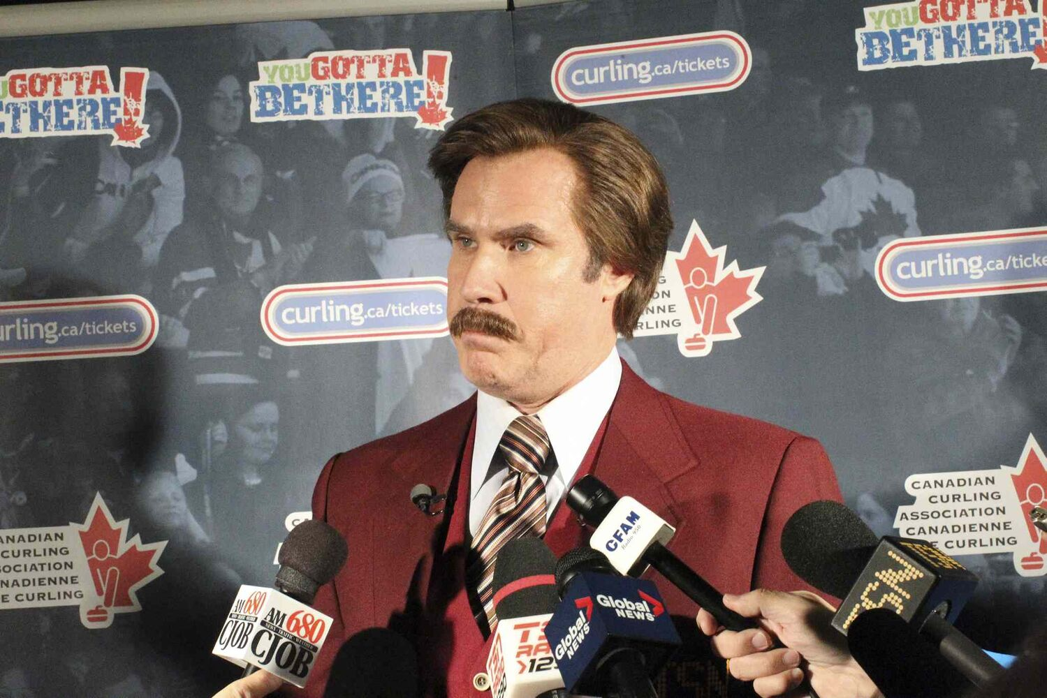 Ron Burgundy faces his toughest task —addressing the media —at Roar of the Rings. (Mike Deal / Winnipeg Free Press)