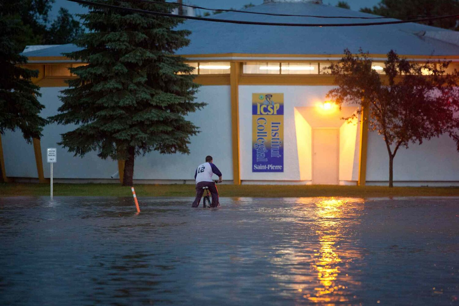 parts of St. Pierre Jolys saw flash flooding Wednesday evening after a rainstorm ripped through the area. (Christine Morin Photography)