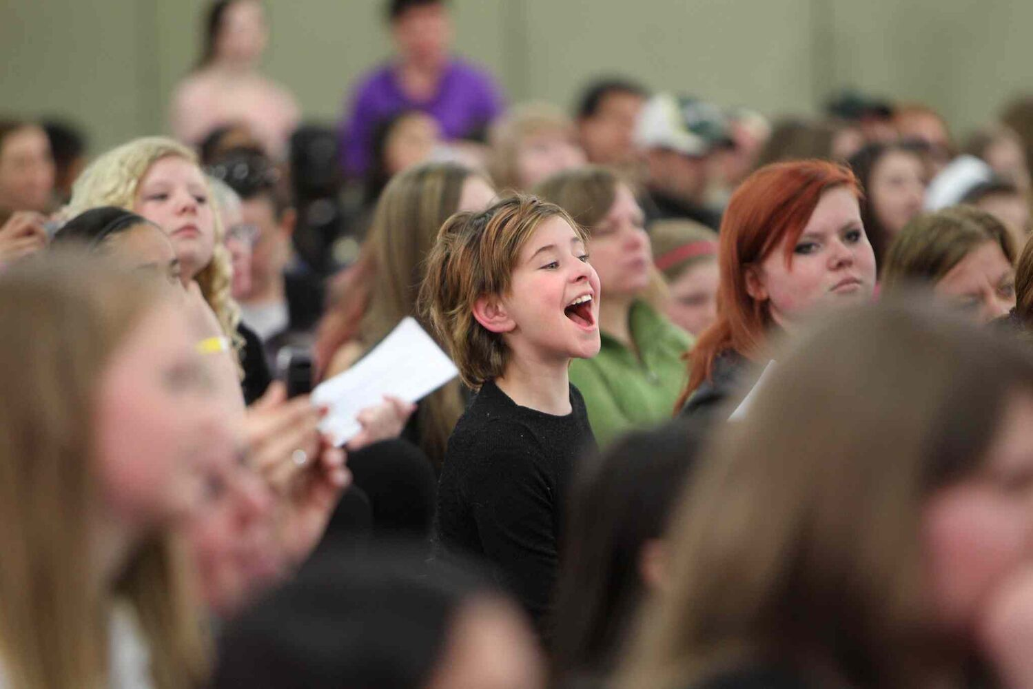 Hundreds of kids show their excitement while waiting in lineups to audition for Next Star at the  convention centre Saturday.    (Ruth Bonneville / Winnipeg Free Press)