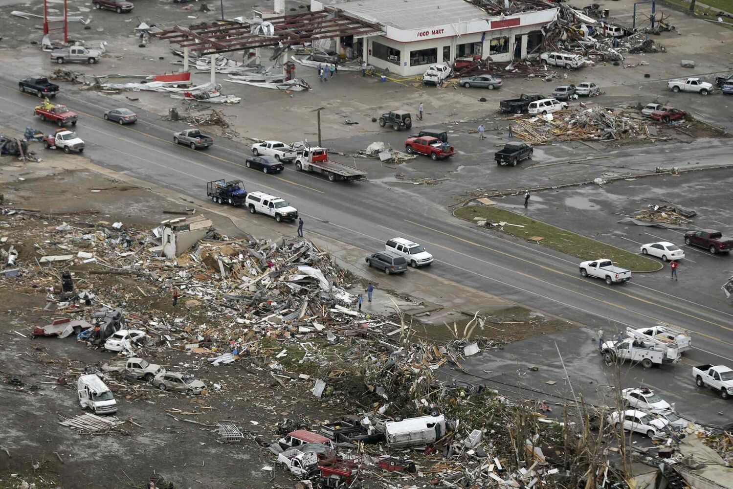 Homes and businesses are wrecked in downton Vilonia, Ark., Monday, April 28, 2014 after a tornado struck the town late Sunday.  (Danny Johnston / The Associated Press)