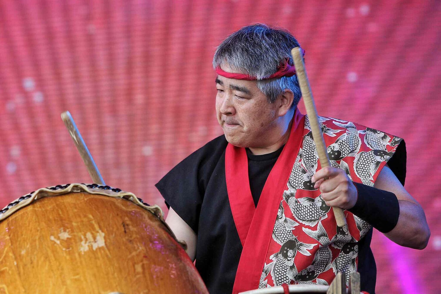 A member of Drums United perform on the Festival Stage at The Forks during the United Way 50th Anniversary concert, One Night For Winnipeg. (Mike Deal / Winnipeg Free Press)