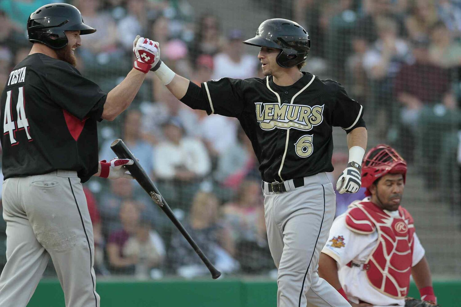 Laredo Lemurs' Devin Goodwin hits a homer in the 2014 American Association All-Star game in Winnipeg Tuesday. (John Woods / Winnipeg Free Press)