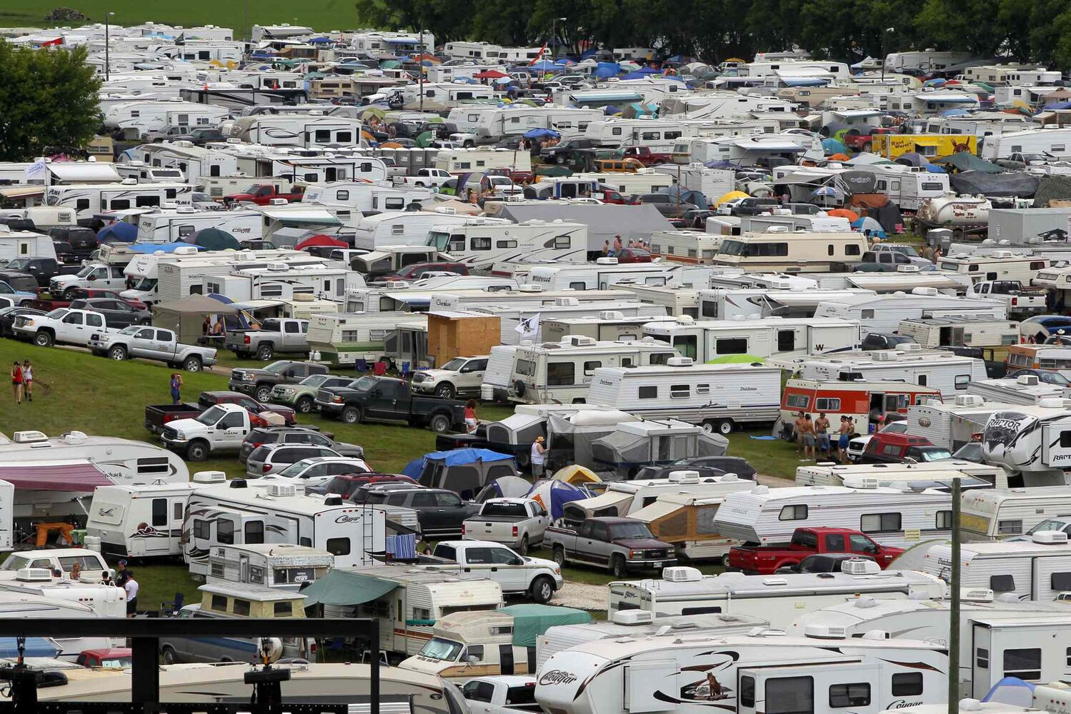 Campers fill the fields behind the stage. The festival expanded its camping area to 4,300 this year.