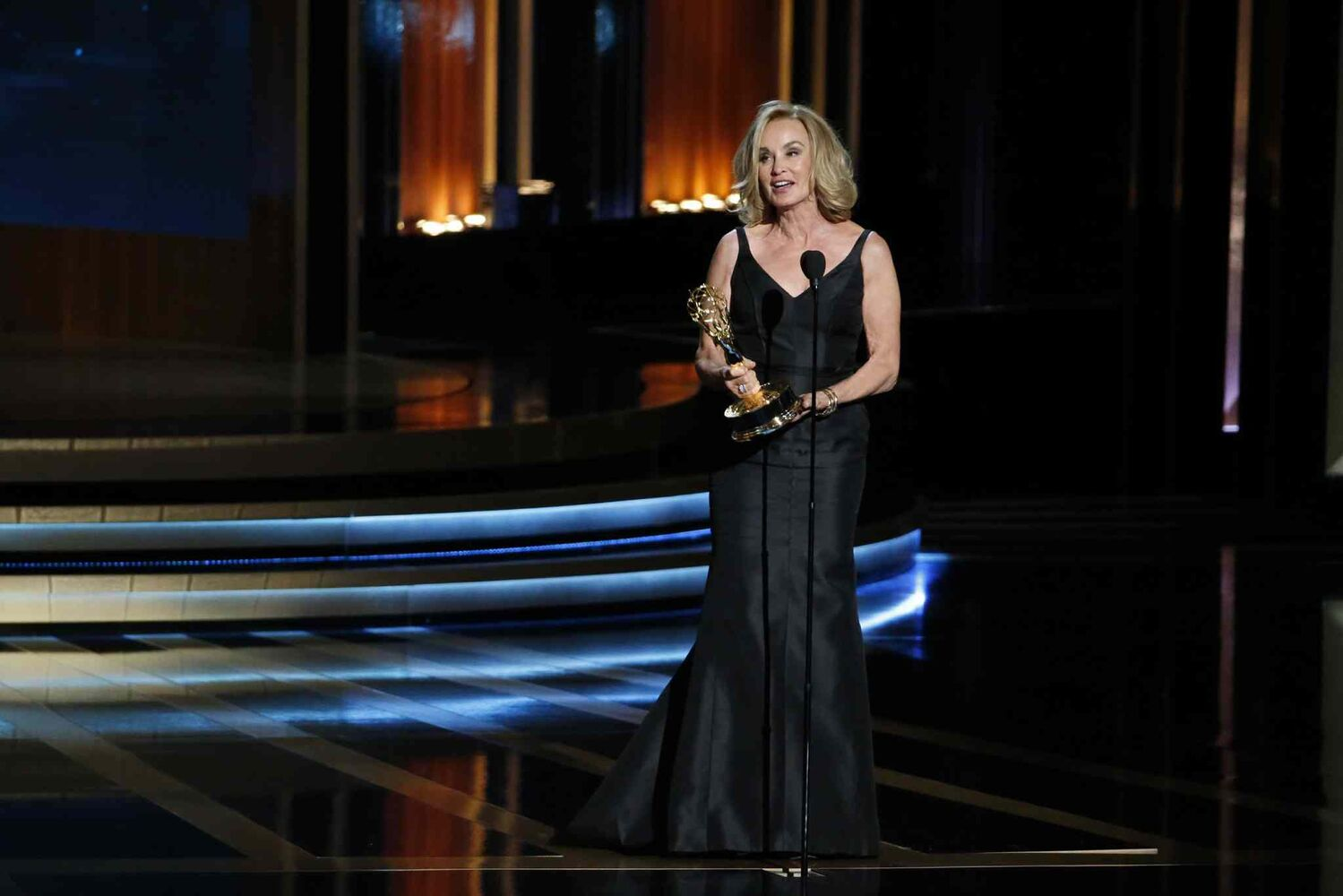 American Horror Story's Jessica Lange accepts her award for Best Actress, Miniseries or Movie during the 66th Annual Primetime Emmy Awards. (Tribune Media MCT)