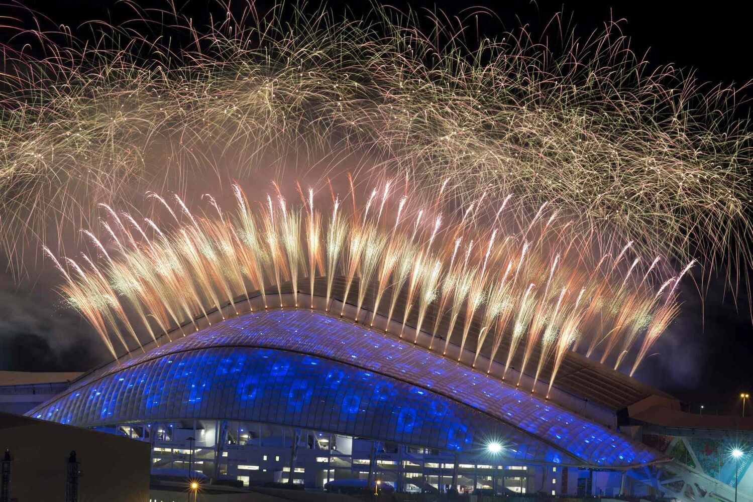 Fireworks explode over Fisht Olympic Stadium at the end of the opening ceremony for the 2014 Winter Olympics in Sochi, Russia, Friday, Feb. 7, 2014. (AP Photo/Pavel Golovkin)