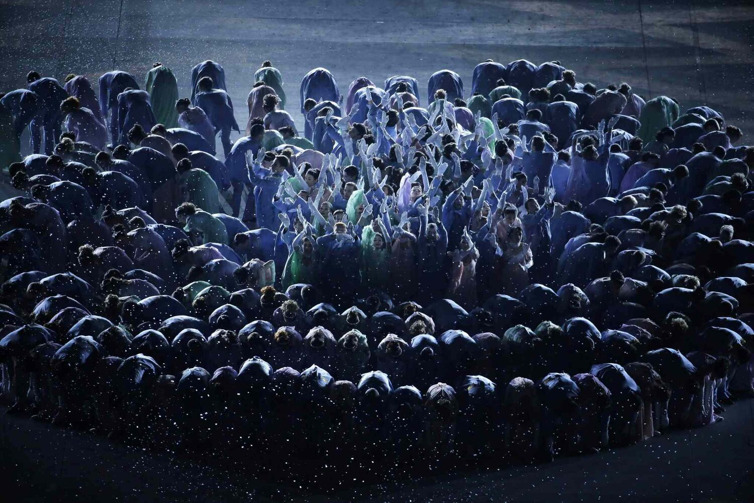 Artists perform during the opening ceremony of the 2014 Winter Olympics in Sochi, Russia, Friday, Feb. 7, 2014. (AP Photo/Charlie Riedel)