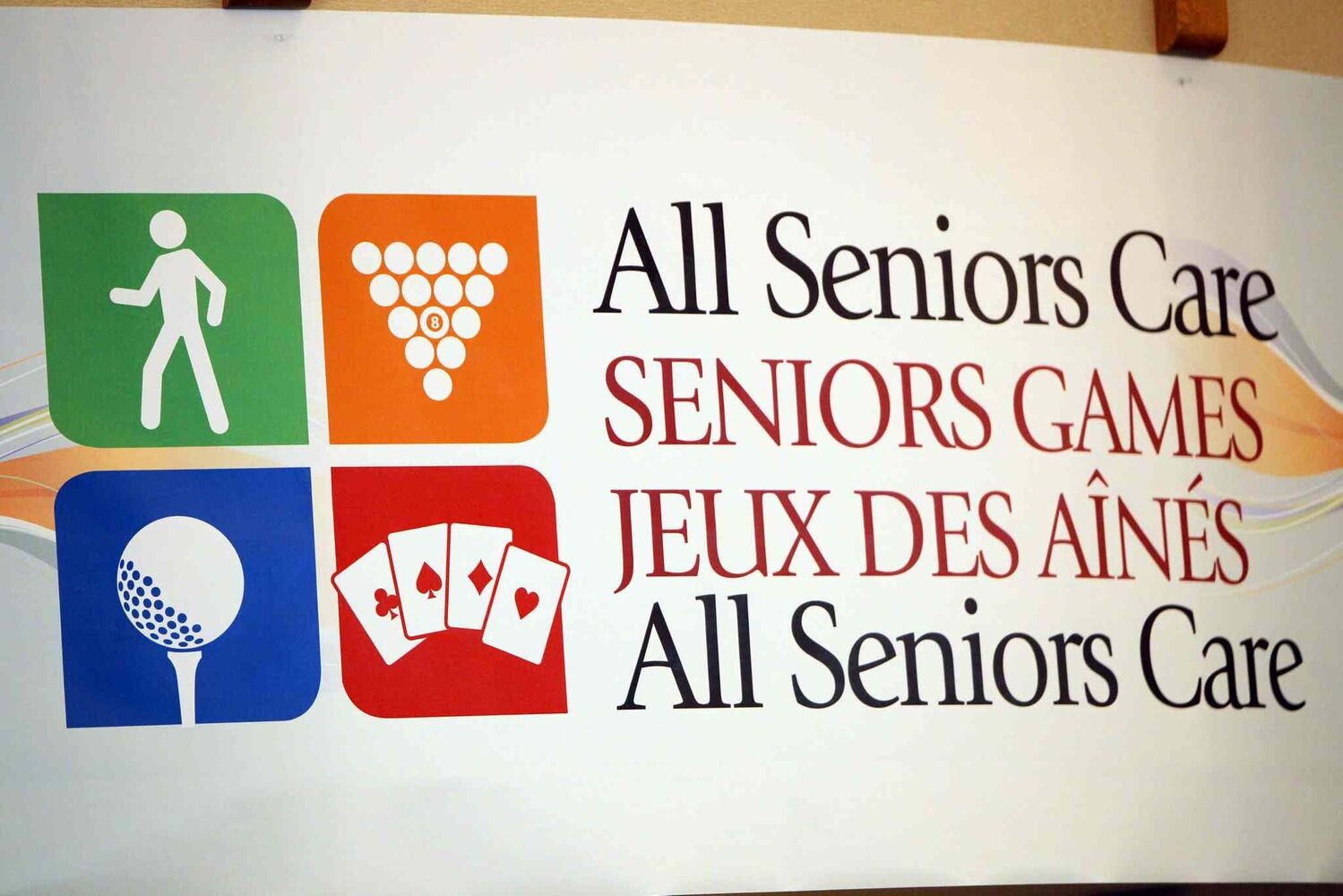 A sign advertises the All Senior Care Games 2014 at Shaftesbury Park Retirement Residence. (Boris Minkevich / Winnipeg Free Press)