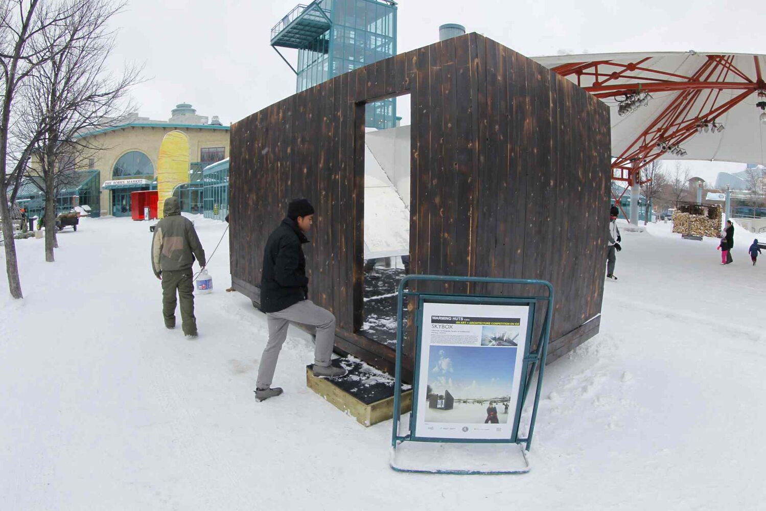 The winning warming hut design, Skybox, sits on display at the Forks Friday. (BORIS MINKEVICH / WINNIPEG FREE PRESS)