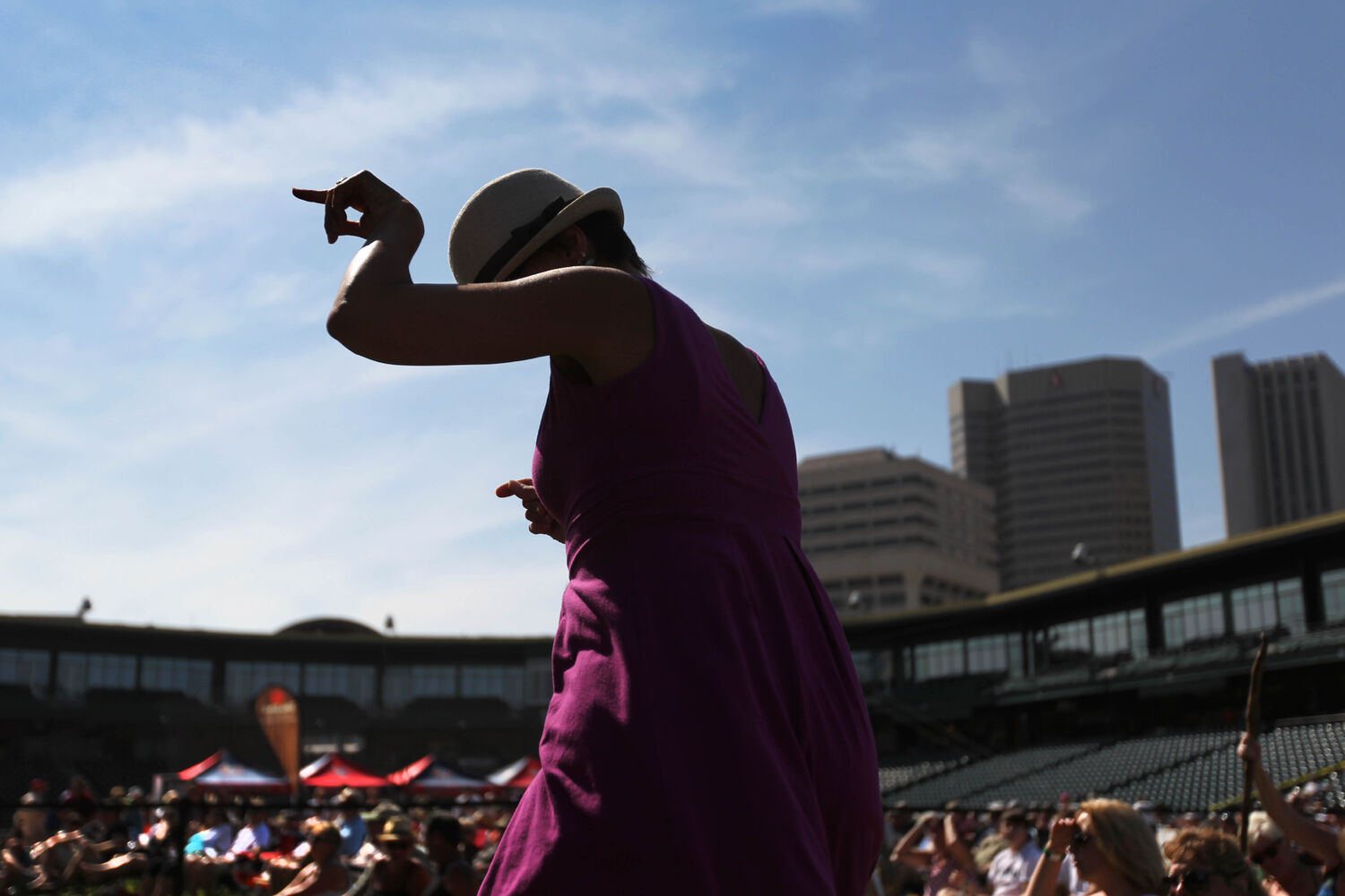 Joy Stadnichuk dances to the music of the local band The Perpetrators at the third annual Winnipeg BBQ & Blues Festival at Shaw Park Saturday.    (Ruth Bonneville / The Winnipeg Free Press)