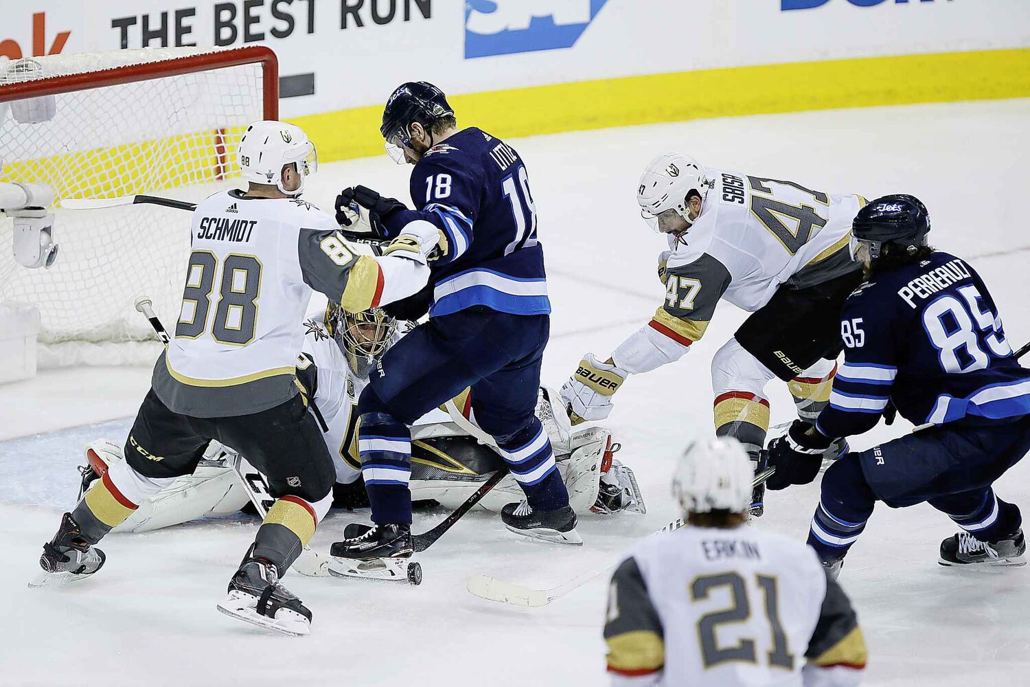 JOHN WOODS / THE CANADIAN PRESS</p><pVegas Golden Knights goaltender Marc-Andre Fleury (29) keeps his eye on the puck as Nate Schmidt (88) and Luca Sbisa (47) defend against Winnipeg Jets' Bryan Little (18) and Mathieu Perreault (85) during third period of game one action in the NHL Western Conference Final in Winnipeg on Saturday, May 12, 2018.</p>