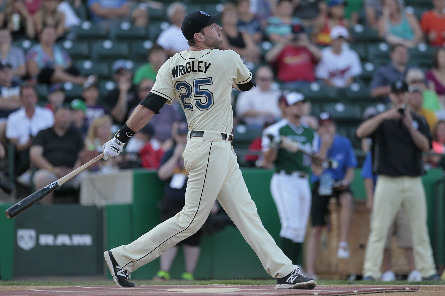 Henry Wrigley of the St. Paul Saints bats during the All-Stars Skills Competition.