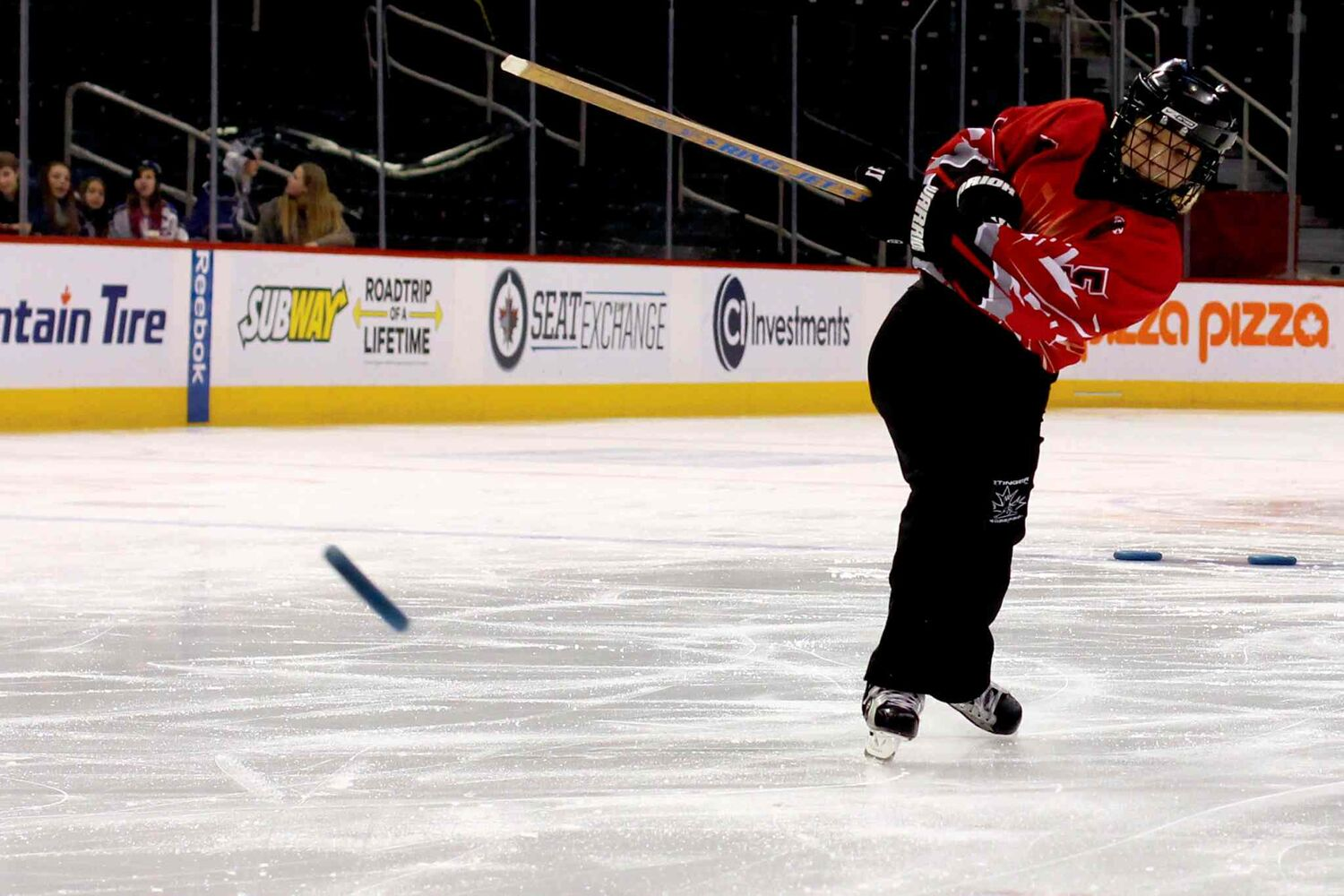 Cirena Maurice  of the Dakota Lazers takes part in the Hardest Shot Competition at the Winnipeg Ringette League's all-star game at the MTS Centre.  (Jordan Thompson)