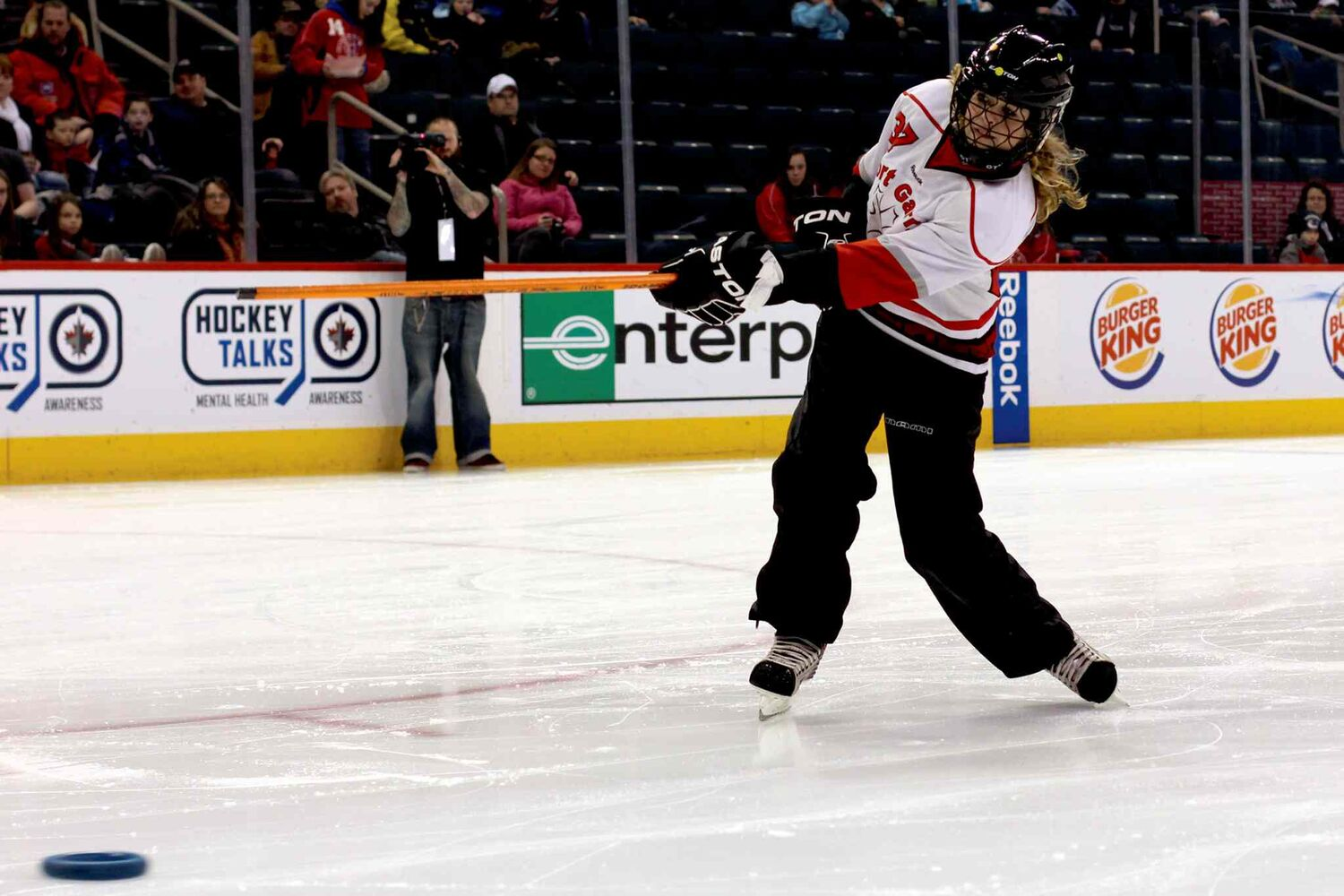 Shea Hlady  of the Fort Garry Fierce takes part in the Hardest Shot Competition at the Winnipeg Ringette League's all-star game at the MTS Centre.  (Jordan Thompson)