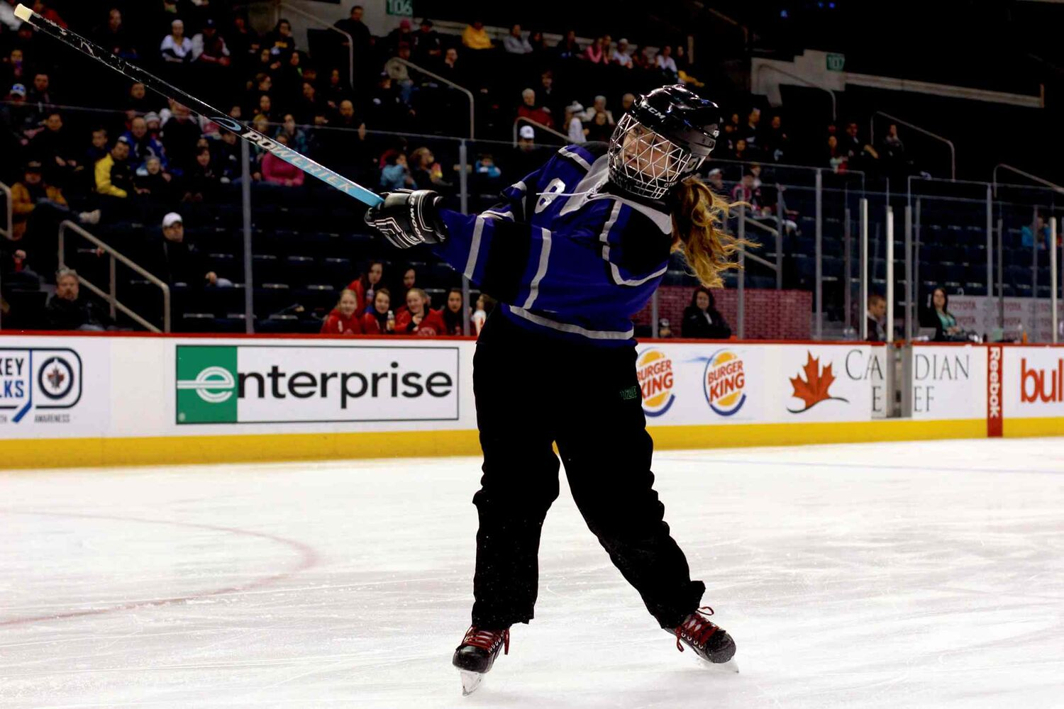 Taylor Roy  of the Norberry Glenlea Knights takes part in the Hardest Shot Competition at the Winnipeg Ringette League's all-star game at the MTS Centre. (Jordan Thompson)