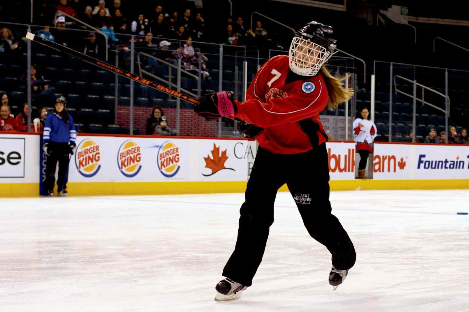 Sydney Meilleur of the Park City Wildcats takes part in the Hardest Shot Competition at the Winnipeg Ringette League's all-star game at the MTS Centre.  (Jordan Thompson)
