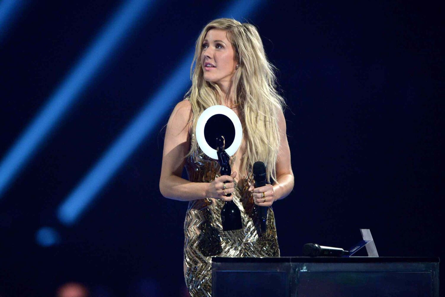 Singer Ellie Goulding accepts the award for best British Female Solo Artist onstage at the BRIT Awards 2014 at the O2 Arena in London on Wednesday, Feb. 19, 2014. (Jon Furniss / Invision/ The Associated Press)