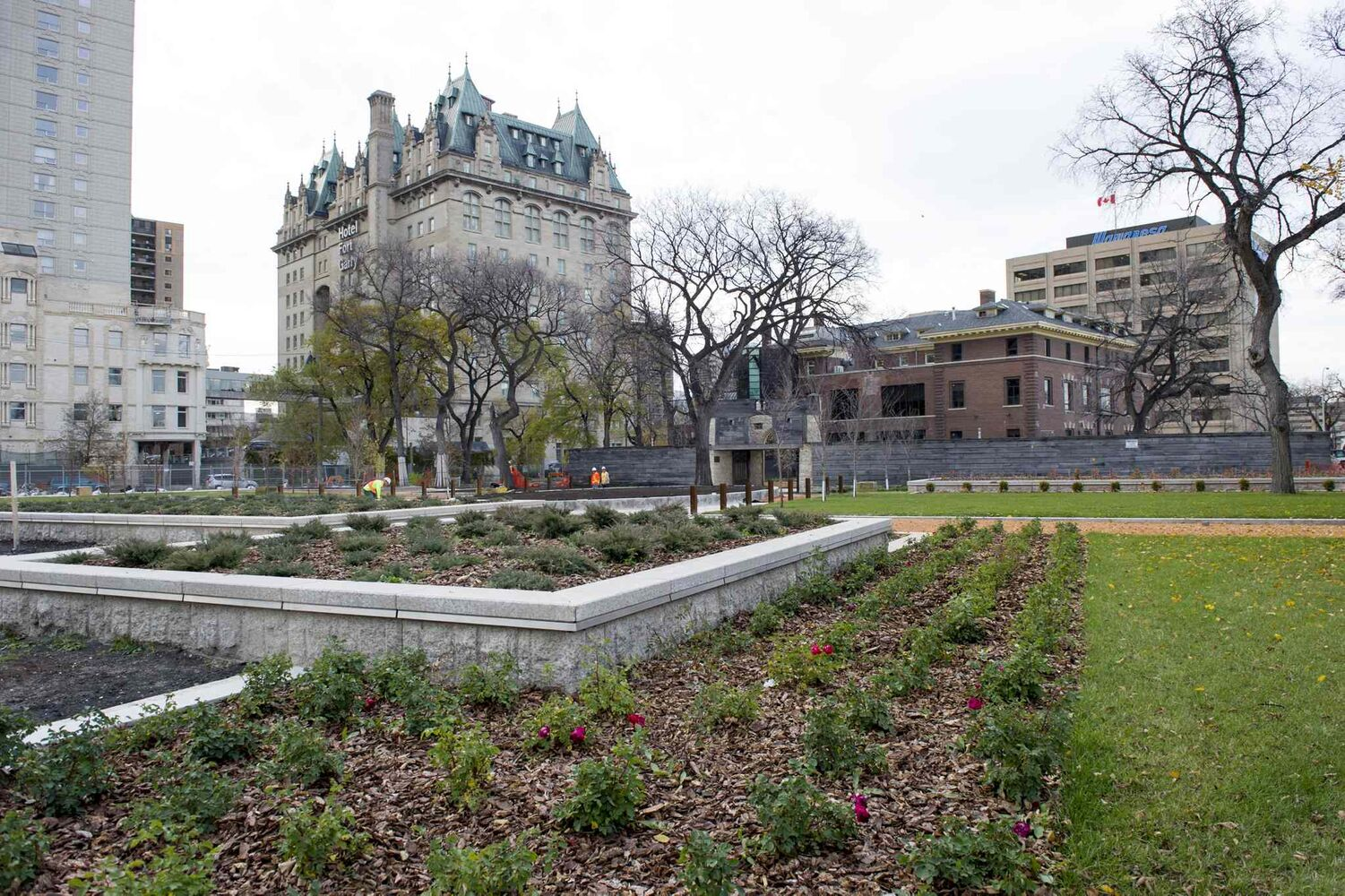 The grounds of Upper Fort Garry are groomed in preparation for Saturday's opening. (DAVID LIPNOWSKI / WINNIPEG FREE PRESS)