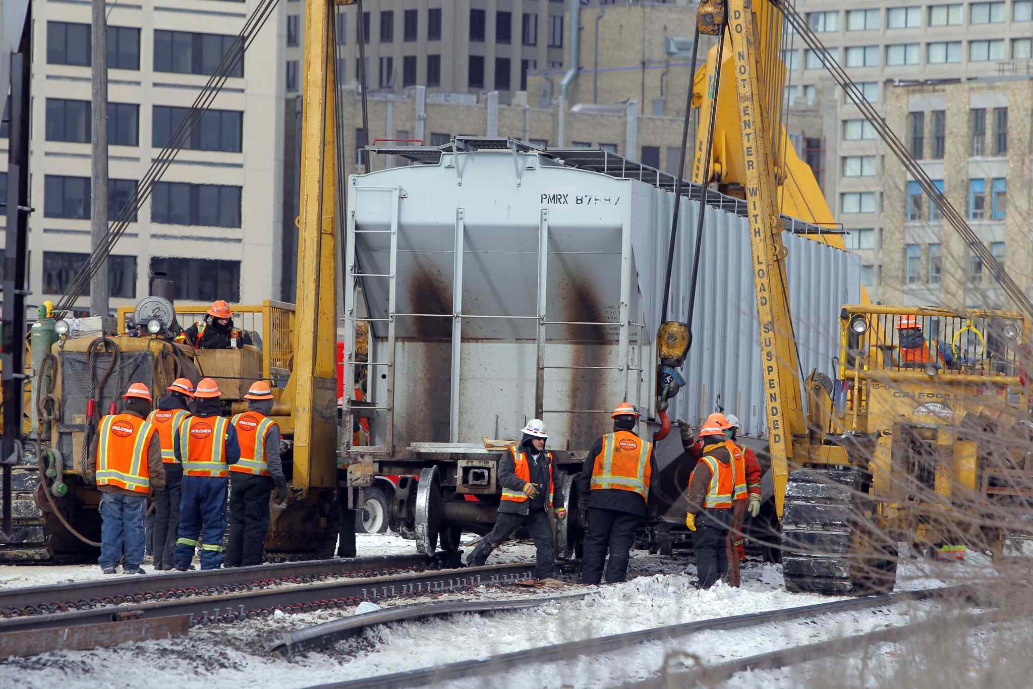 On Thursday, crews were working on the cars derailed near The Forks.
