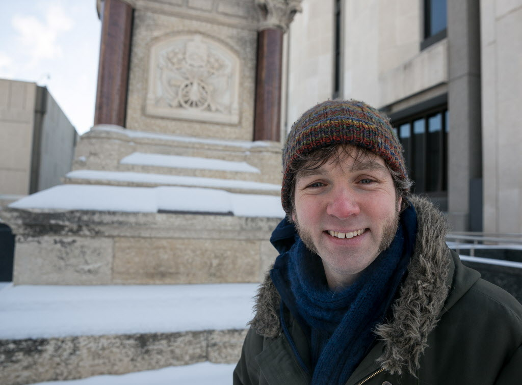 Matthew McRae at the monument dedicated to the fallen members of the Royal Winnipeg Rifles, who defeated the Louis Riel-led Métis forces in the Northwest Rebellion.