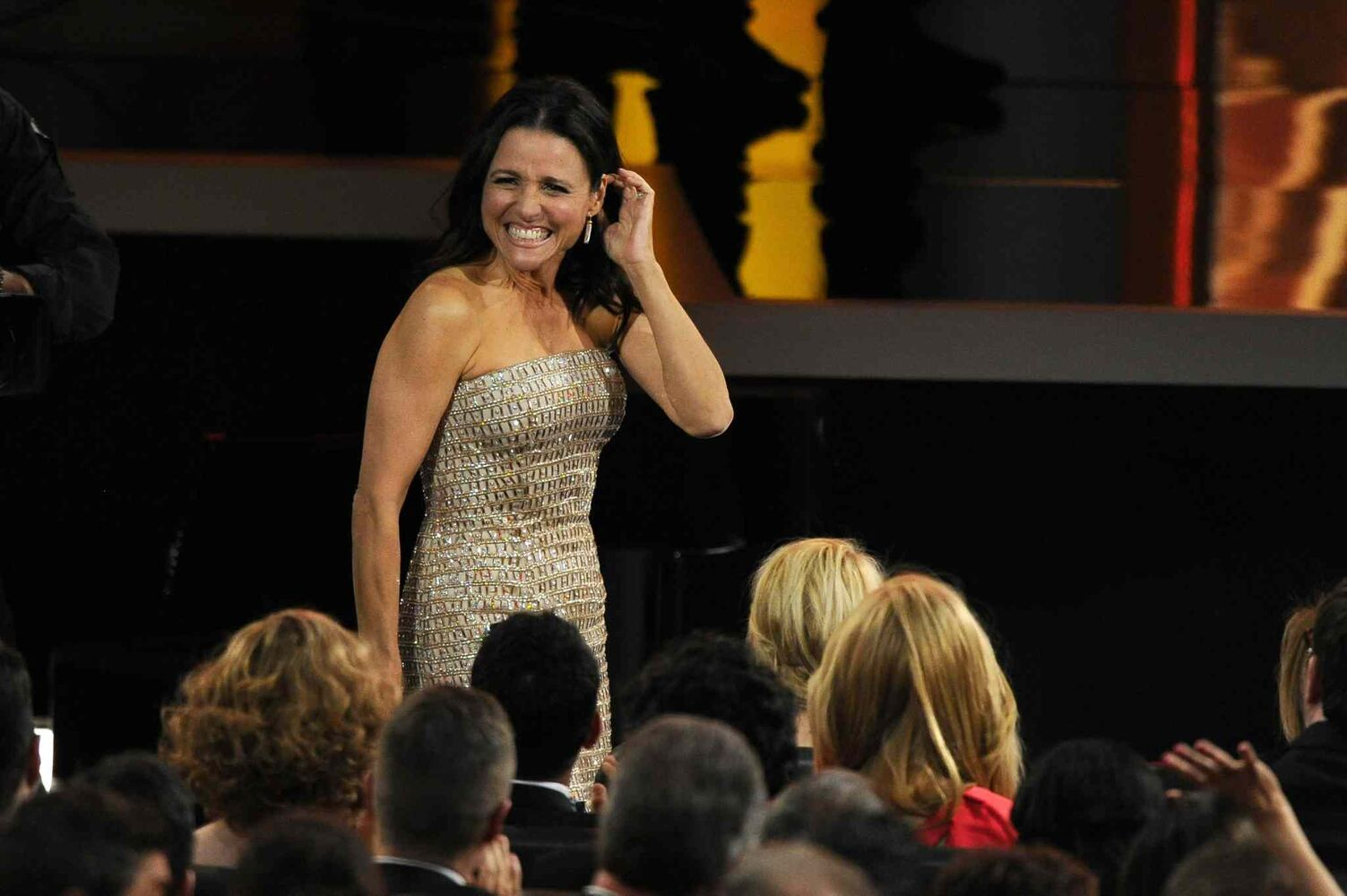 Julia Louis-Dreyfus reacts as it was announced that she won the award for outstanding lead actress in a comedy series for her role on Veep.