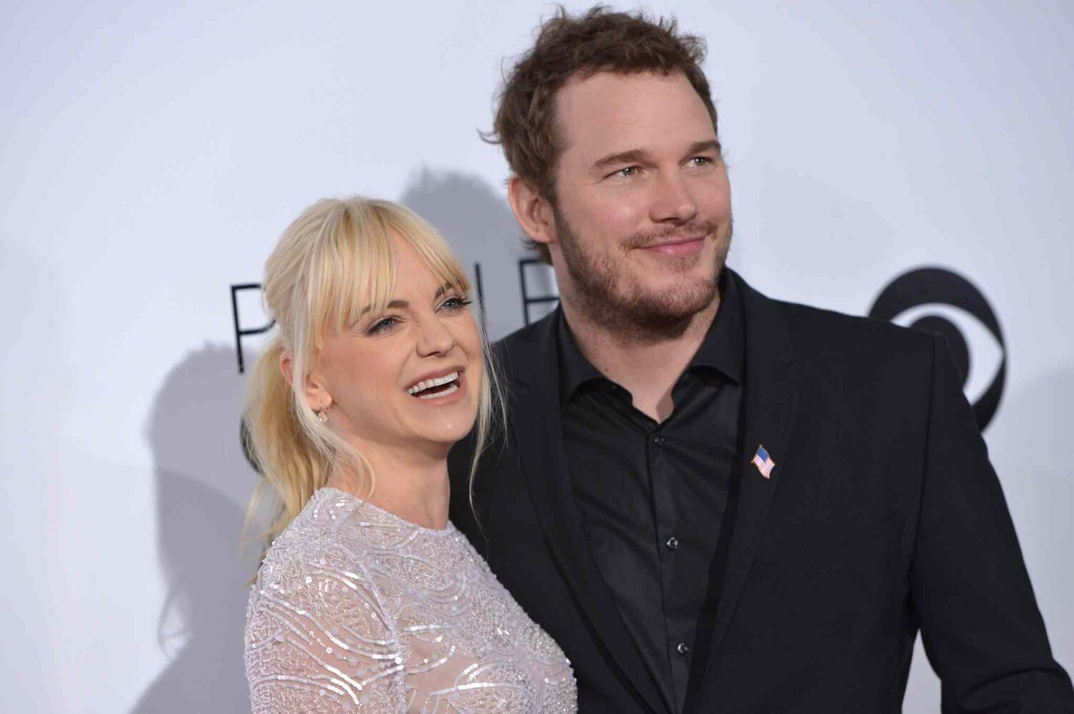 Actors Anna Faris, left, and Chris Pratt arrive at the 40th annual People's Choice Awards at Los Angeles' Nokia Theatre Wednesday. (John Shearer / Invision/ The Associated Press)