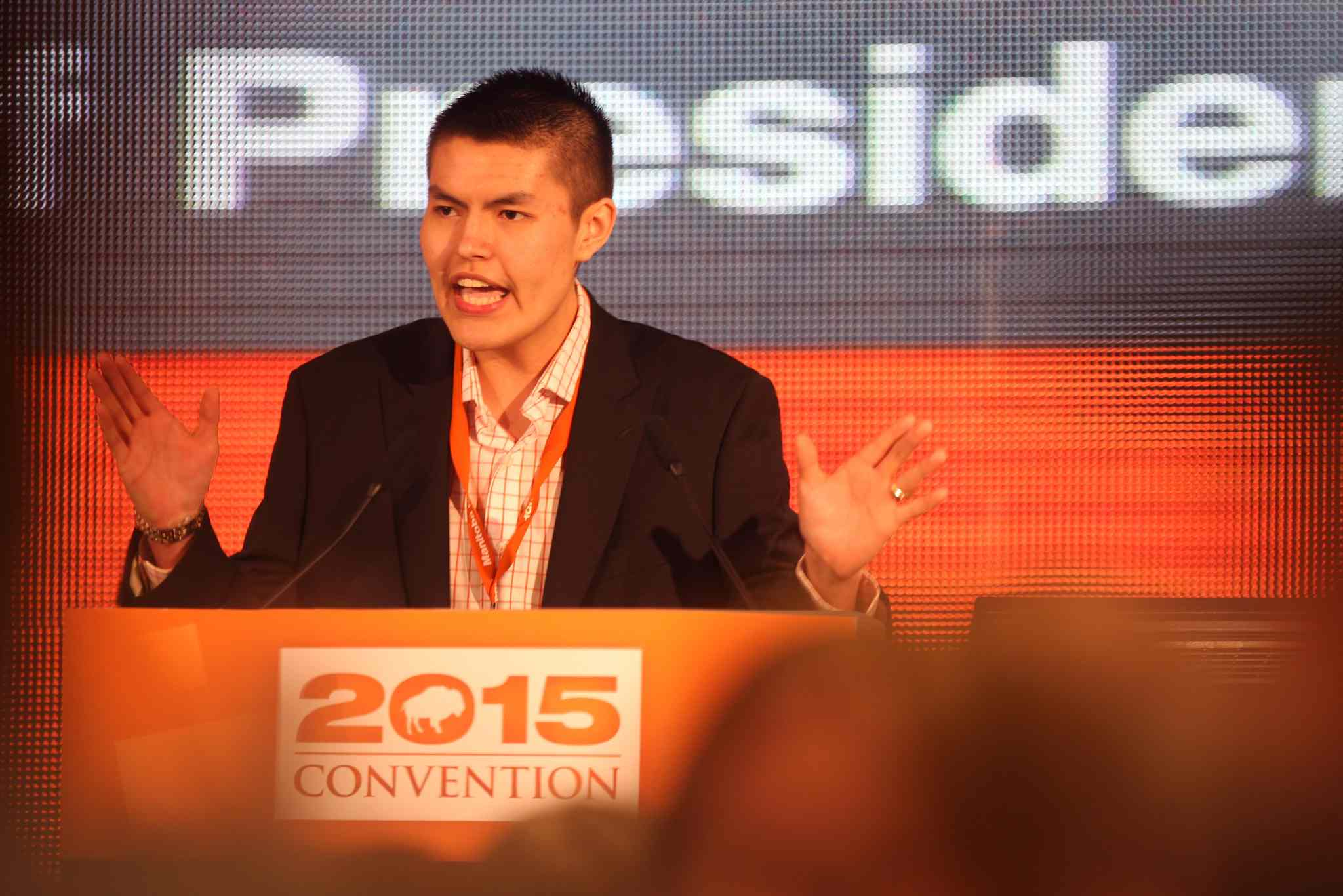 Tyler Duncan, 18, is the youngest party member to run for President of the Manitoba NDP.  He speaks to members just before a vote is taken for president at the party convention on Saturday held at Canad Inns Polo Park. Saturday,   March 07, 2015 Ruth Bonneville / Winnipeg Free Press.