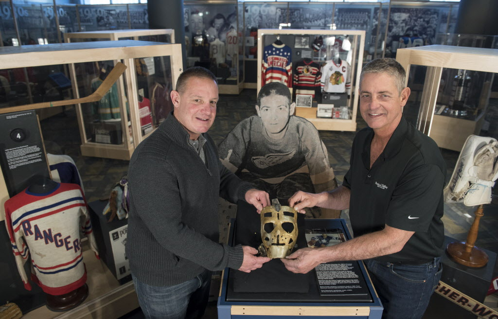 Terry Sawchuk's sons Terry (left) and Jerry (right) visited the Manitoba Sports Hall of Fame Friday March 20. They sons made a pilgrimage from their homes in Detroit to see where their late father, one of the NHL's greatest goaltenders, lived and played.