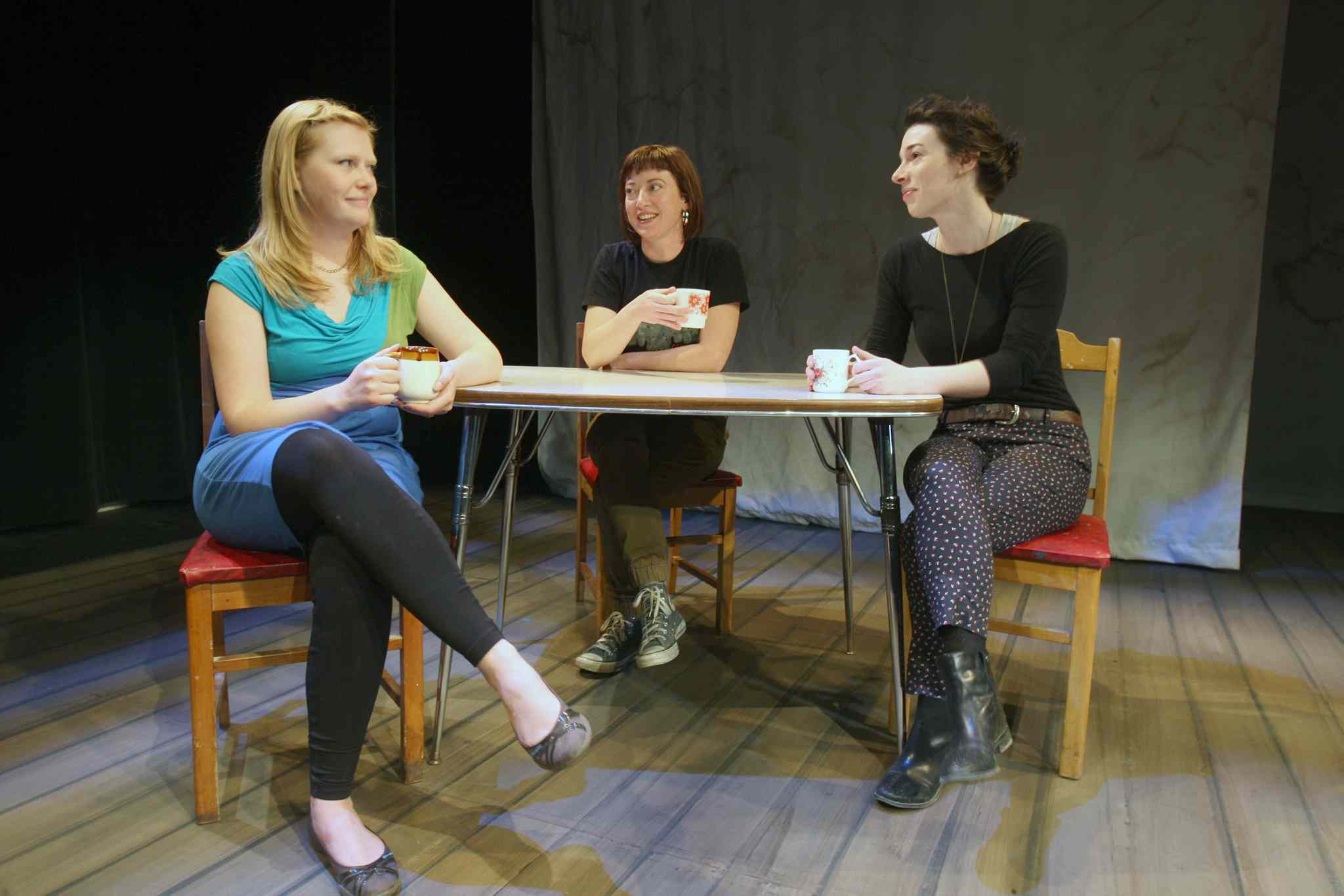 Andraea Sartison (from left) the director and co-writer of I Dream of Diesel, with Claire Therese Friesen and Gwendolyn Collins, who are in the play.