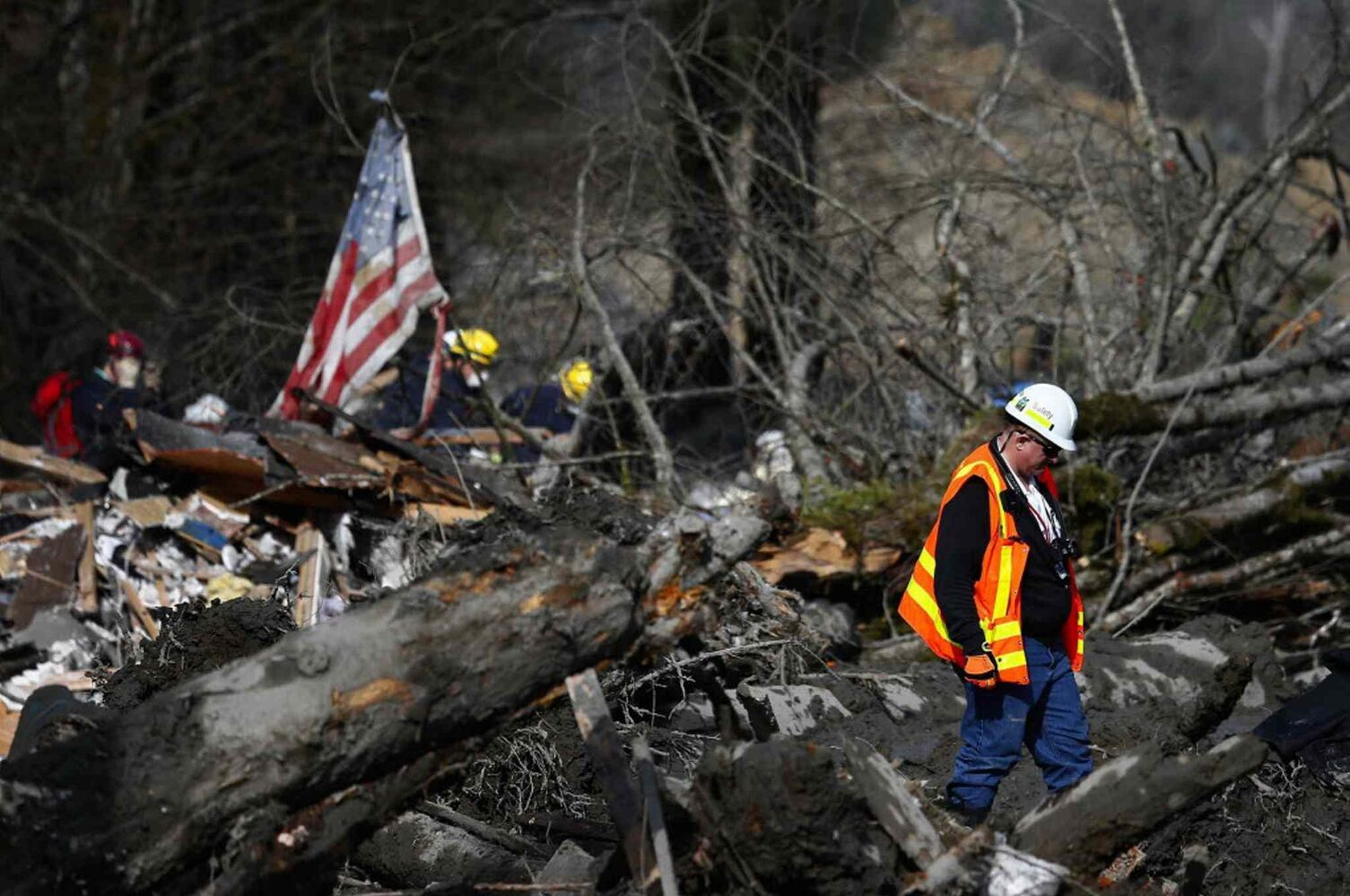 Washington State Department of Transportation safety manager Mike Breysse examines the areas devastated by Saturday's giant mudslide.  (Lindsey Wasson / Seattle Times / MCT)