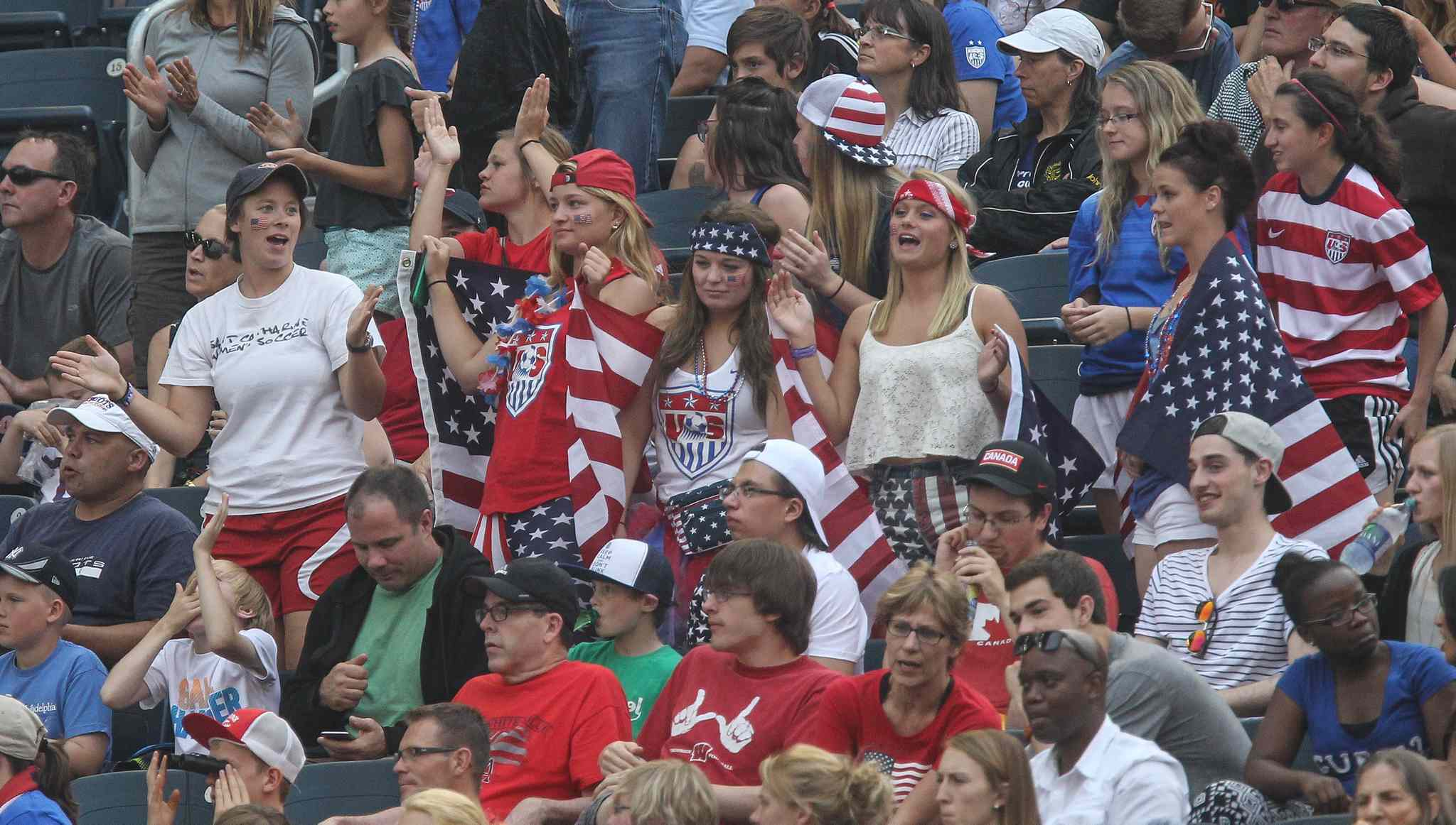 USA fans during half time at the USA vs. Australia game of FIFA Women's World Cup soccer action in Winnipeg on Monday, June 8, 2015.